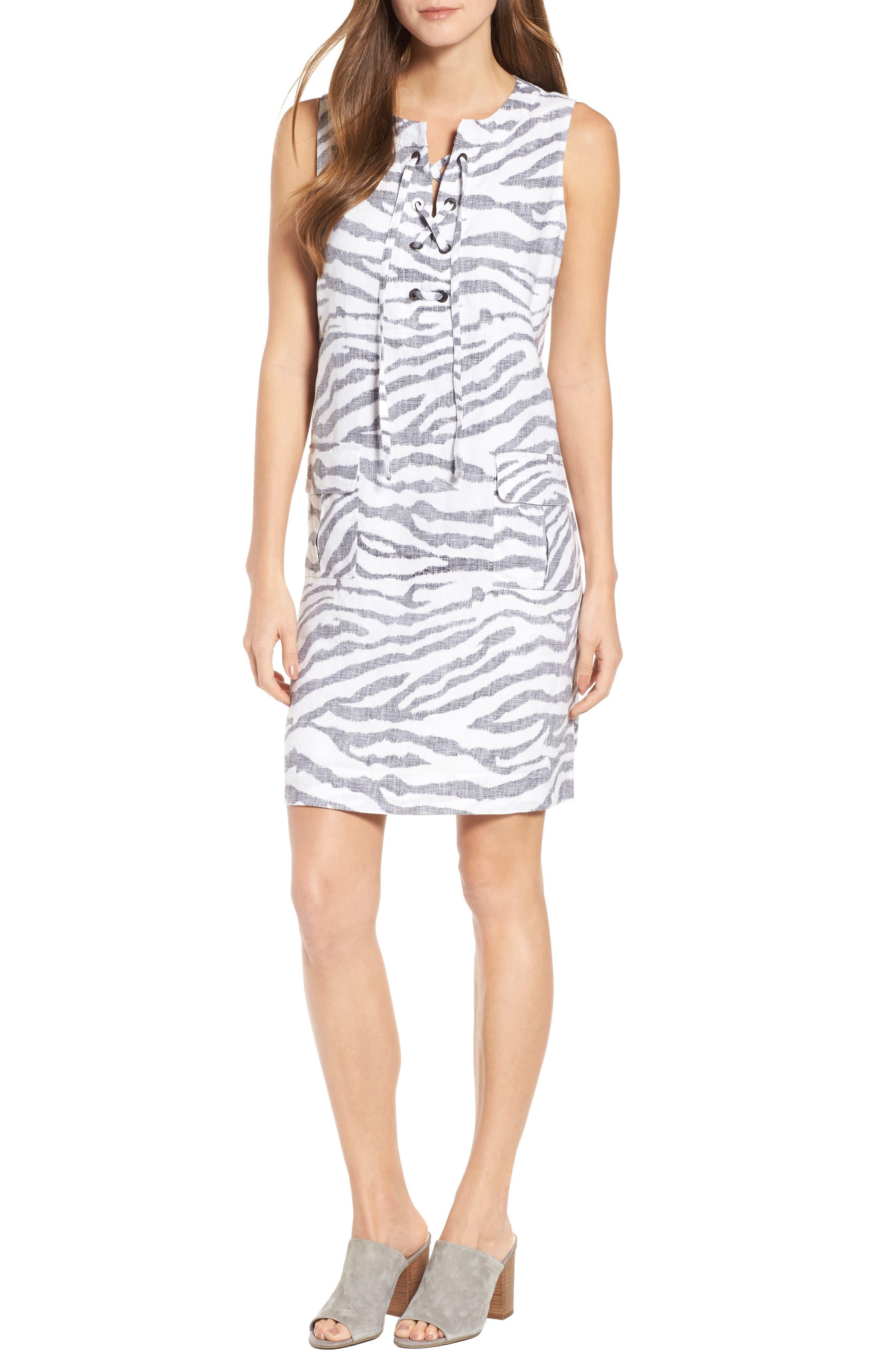 Zebra Taunt Shift Dress,                             Main thumbnail 1, color,                             Black
