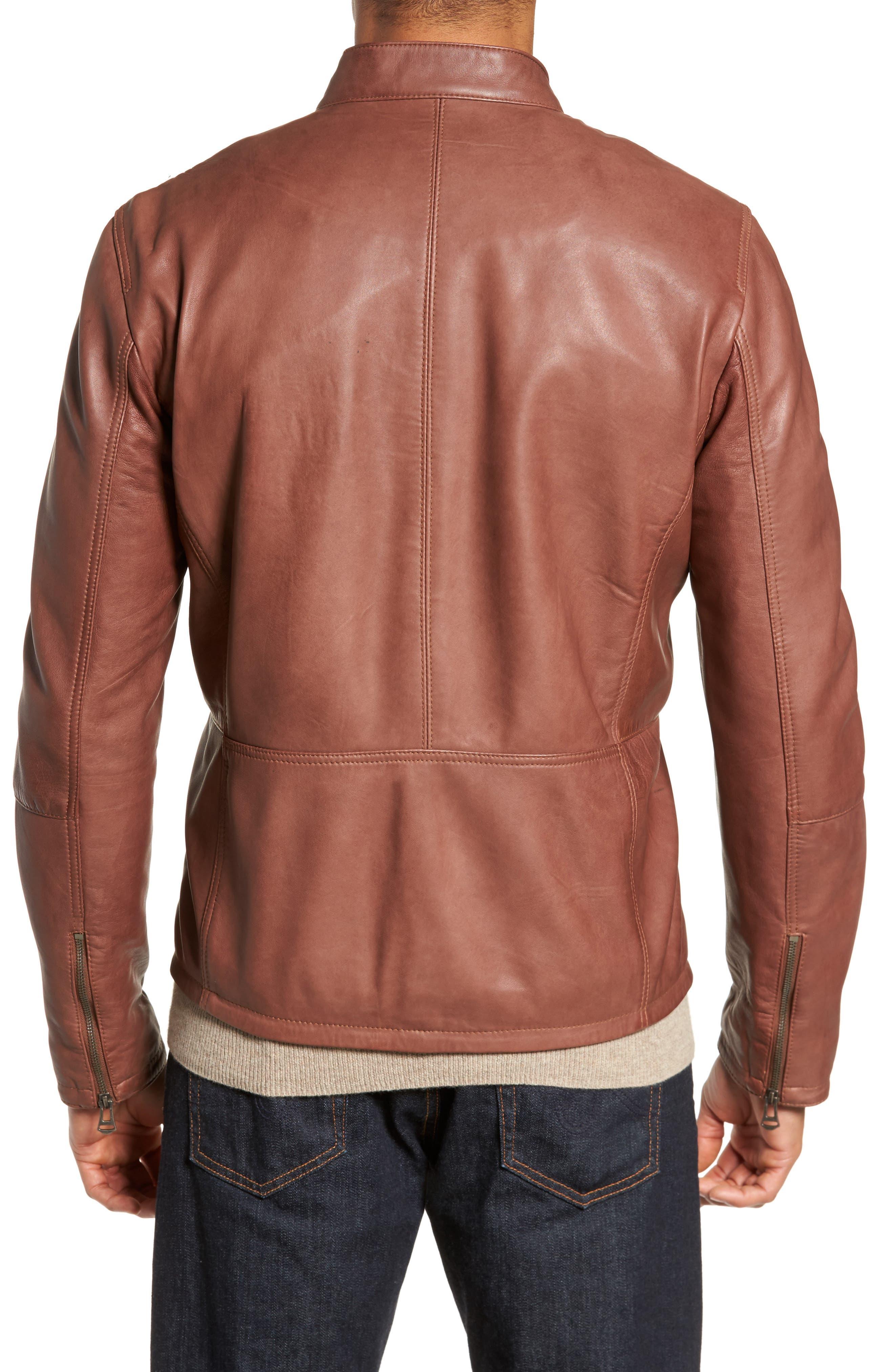 Washed Lamb Leather Moto Jacket,                             Alternate thumbnail 2, color,                             British Tan