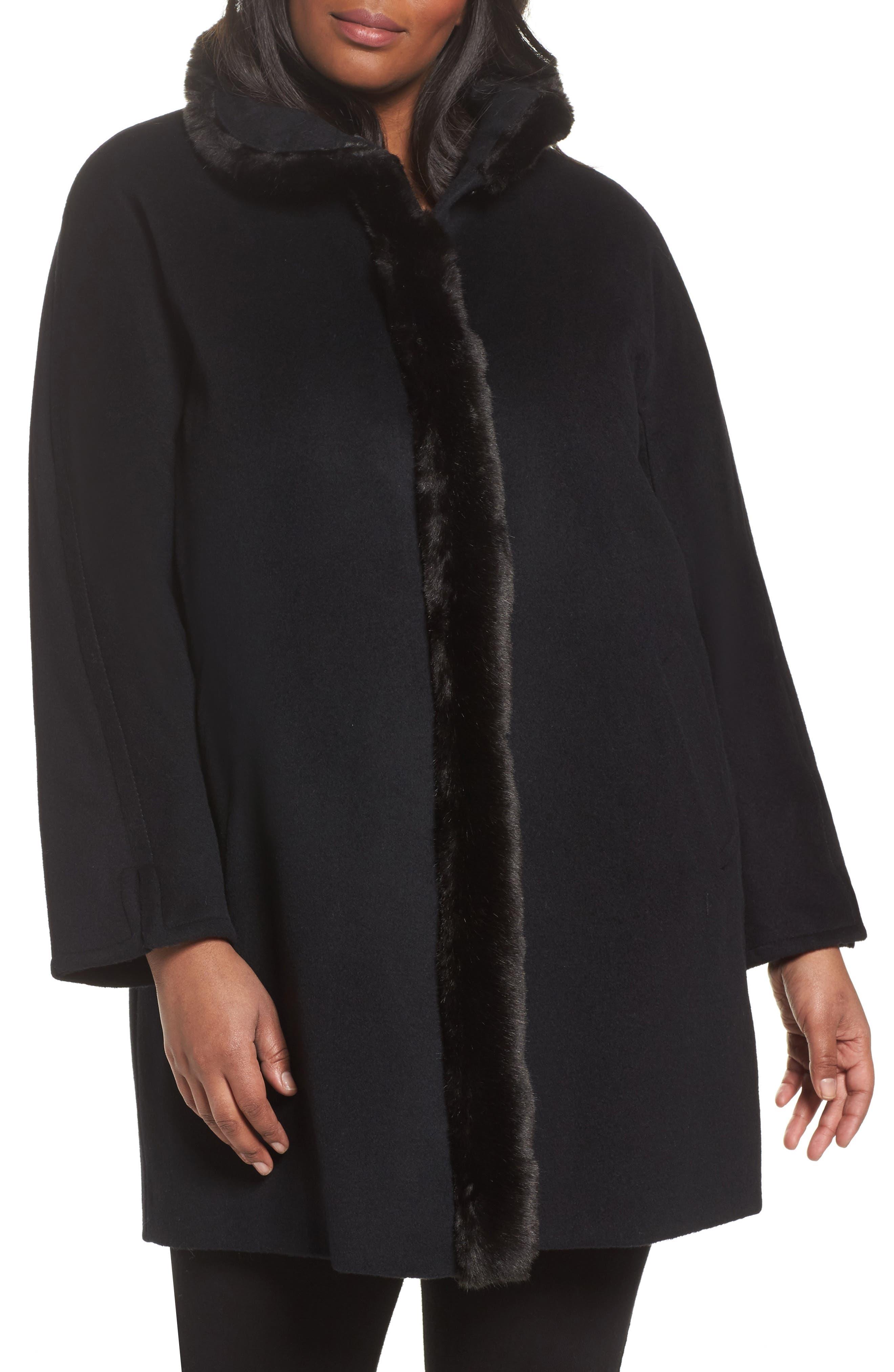 Ellen Tracy Wool Blend Faux Fur Trim Walking Coat (Plus Size)