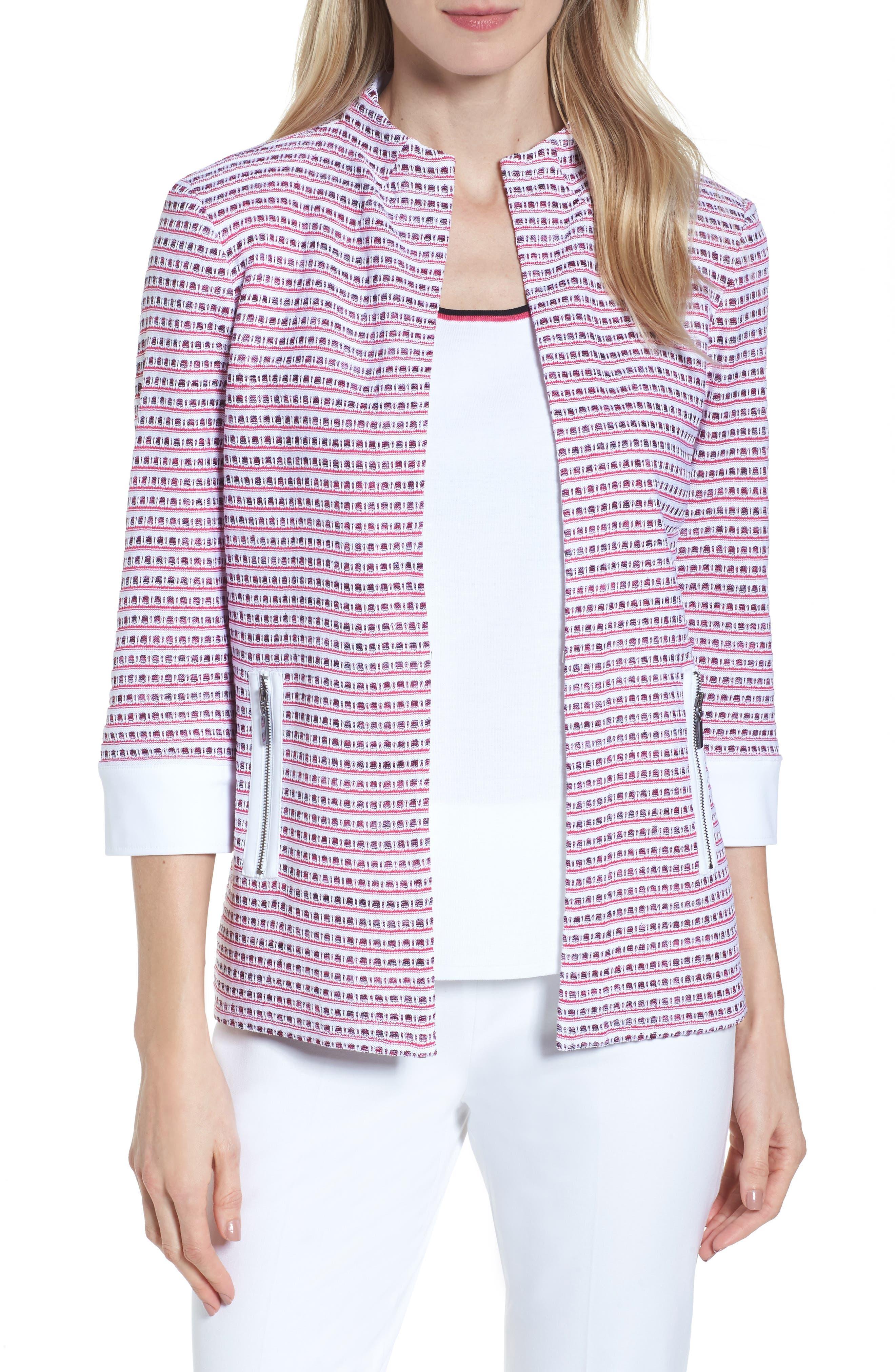 Tweed Jacket,                             Main thumbnail 1, color,                             White/ Black/ Dahlia