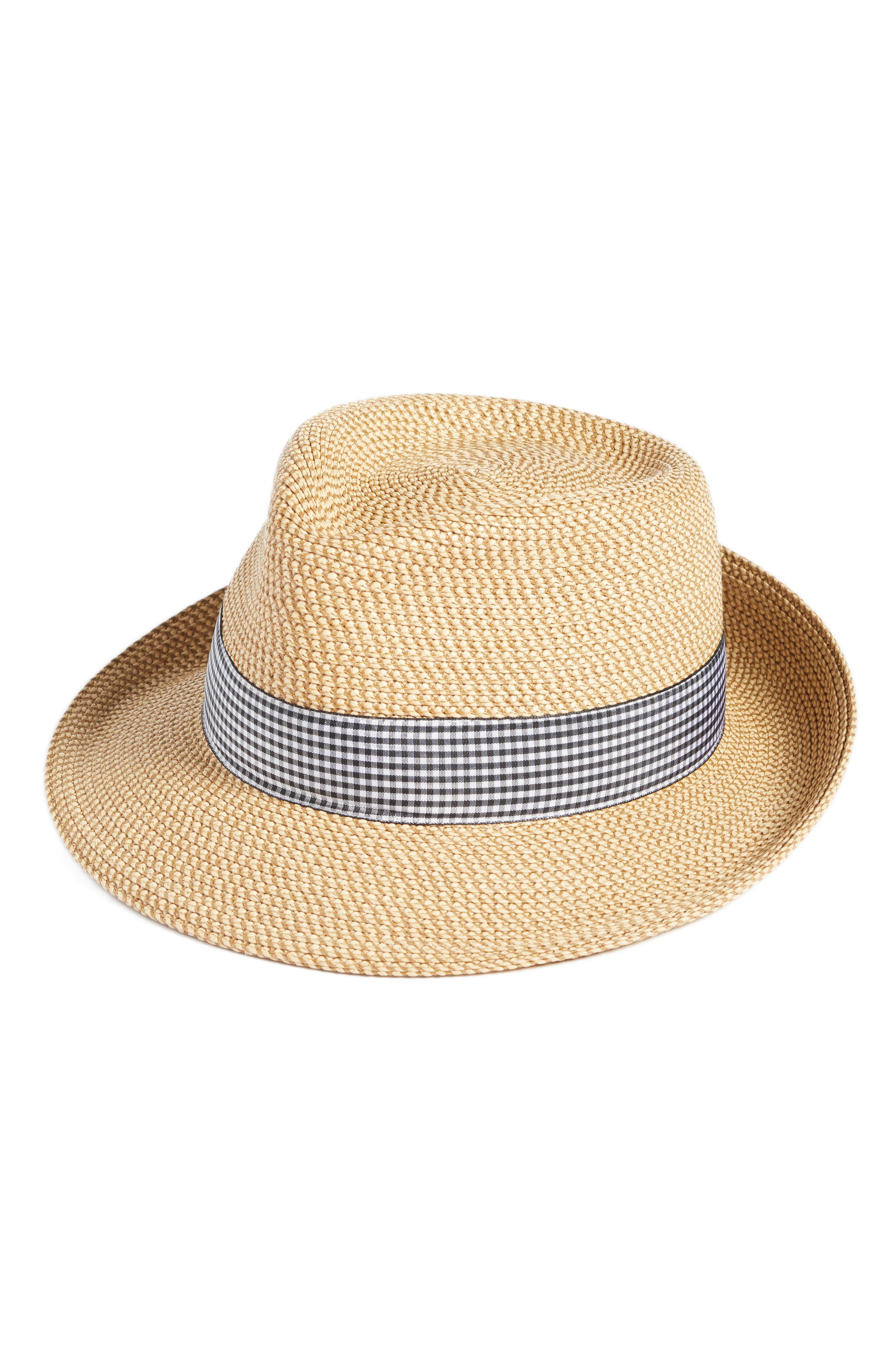 'Classic' Squishee<sup>®</sup> Packable Fedora Sun Hat,                         Main,                         color, Peanut/ Black Check