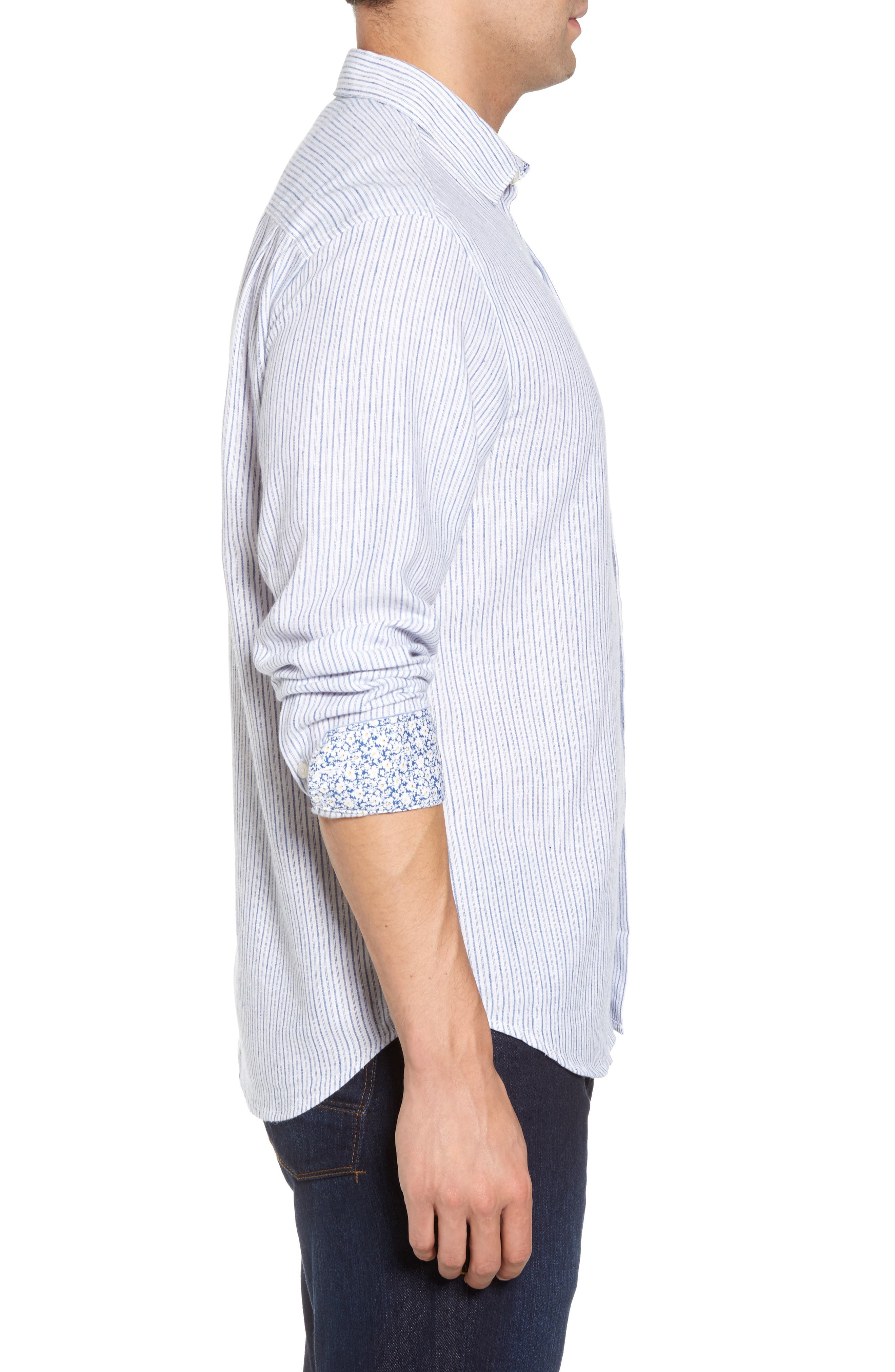 Bungalow Stripe Regular Fit Linen Blend Sport Shirt,                             Alternate thumbnail 3, color,                             Galaxy Blue