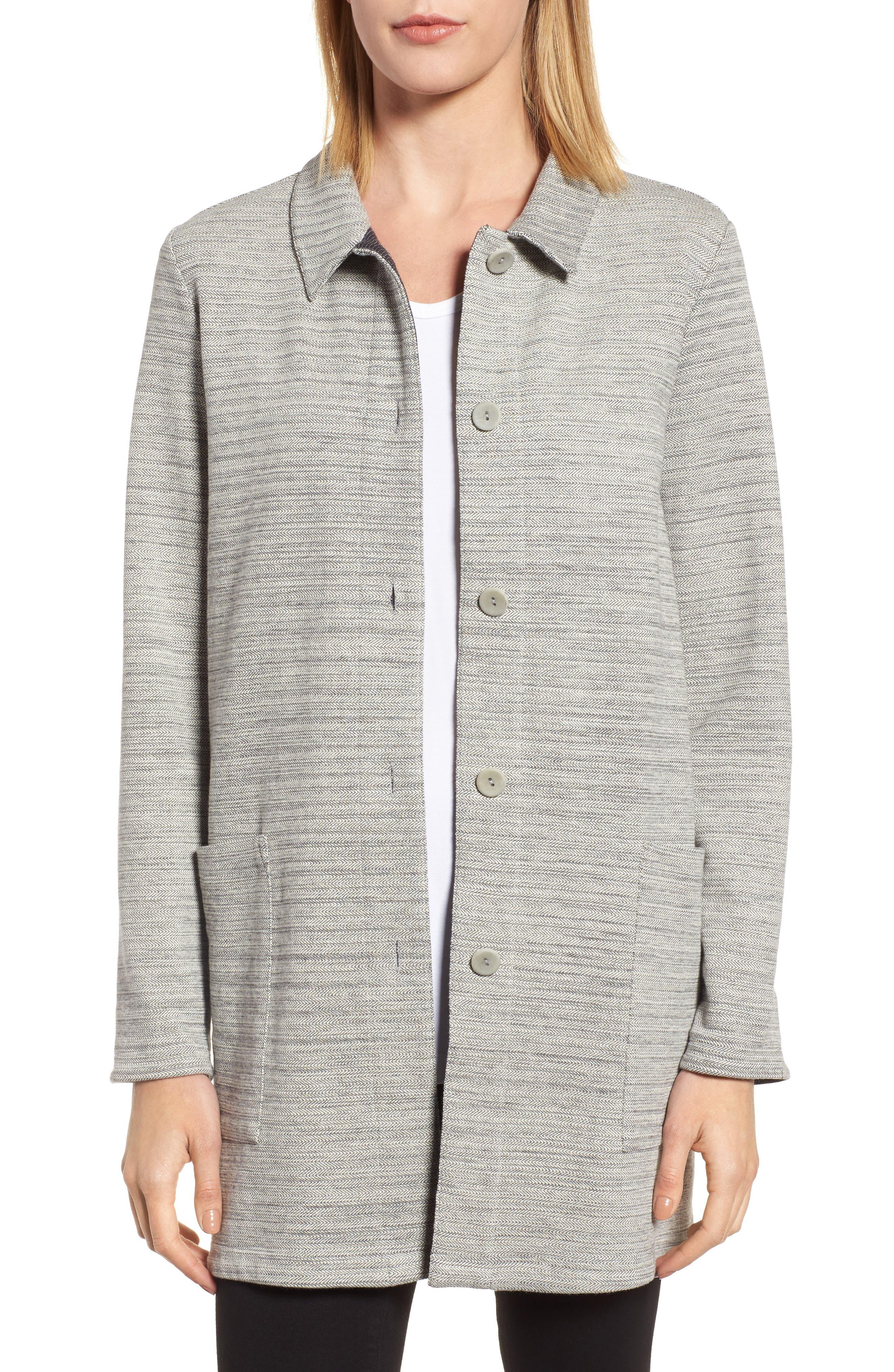 Main Image - Eileen Fisher Cotton Blend Tweed Jacket