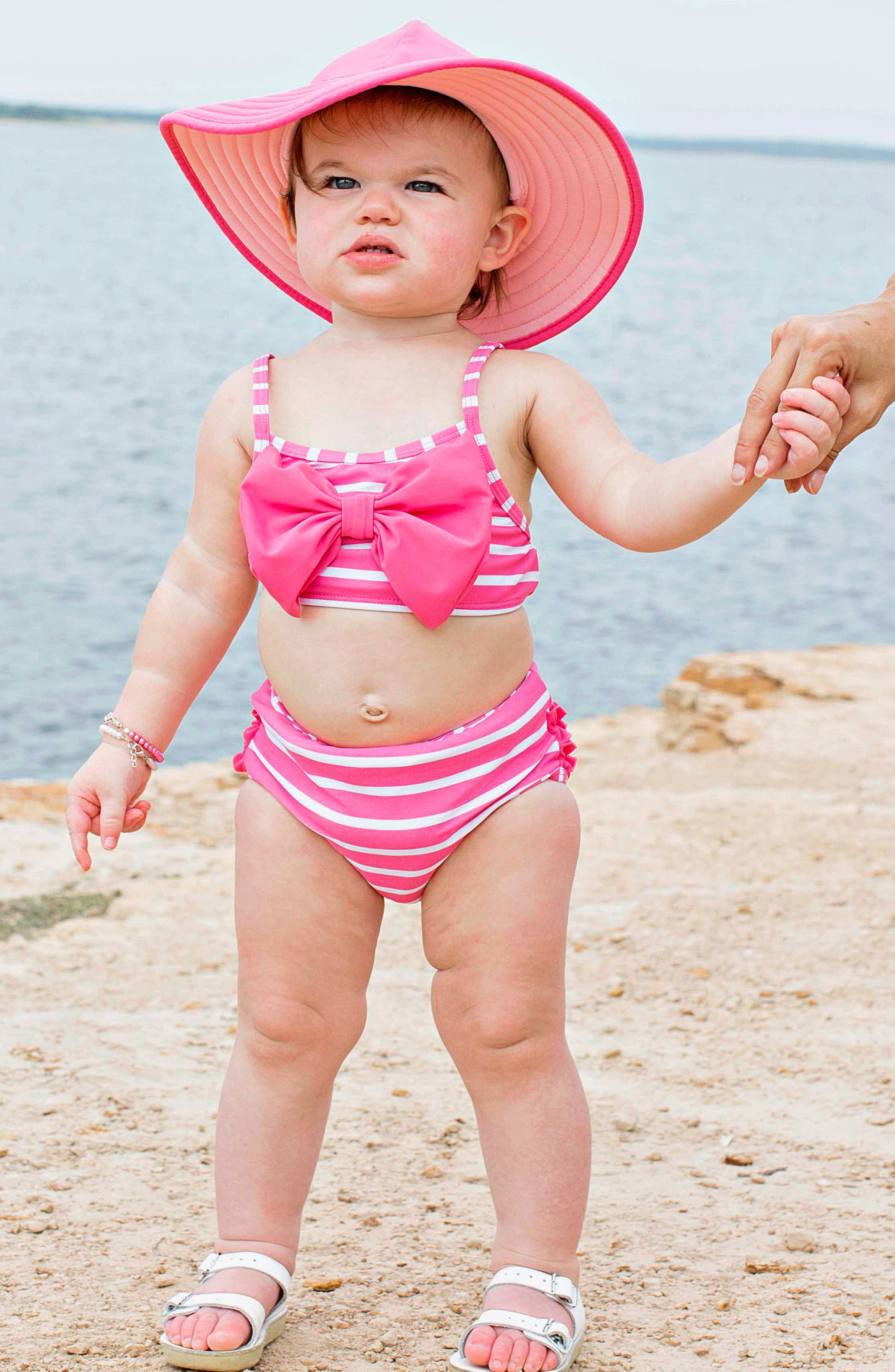 Alternate Image 3  - RuffleButts Two-Piece Swimsuit & Hat Set (Baby Girls & Little Girls)
