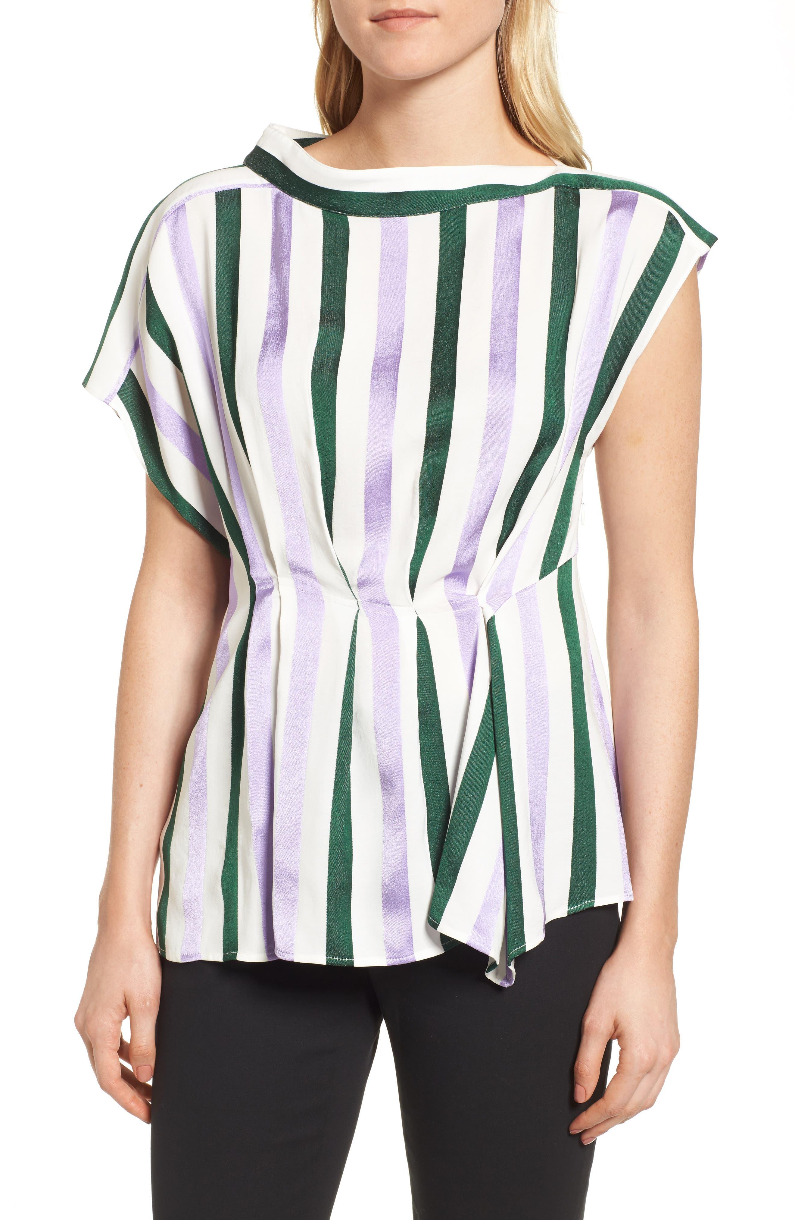 Stripe Draped Peplum Top,                         Main,                         color, Purple- Green Vertical Stripe