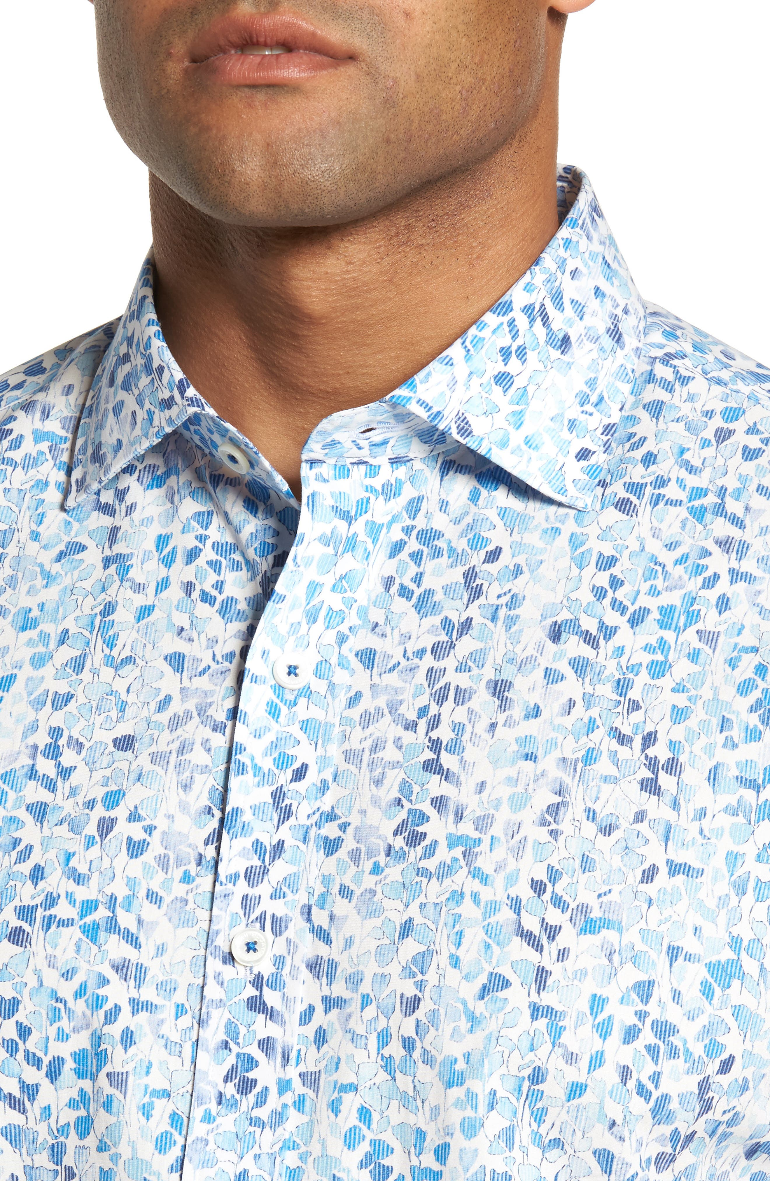 Shaped Fit Print Sport Shirt,                             Alternate thumbnail 4, color,                             Classic Blue