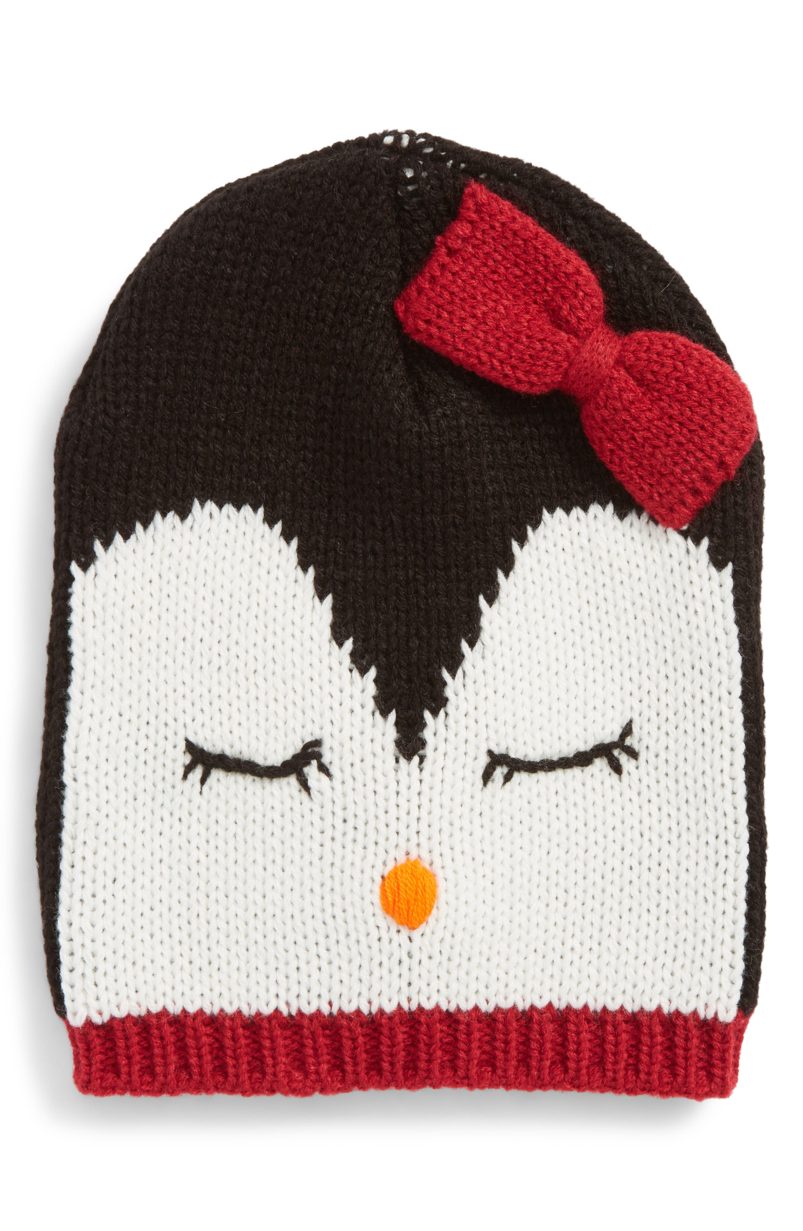 Penguin Face Beanie,                             Main thumbnail 1, color,                             Black Penguin