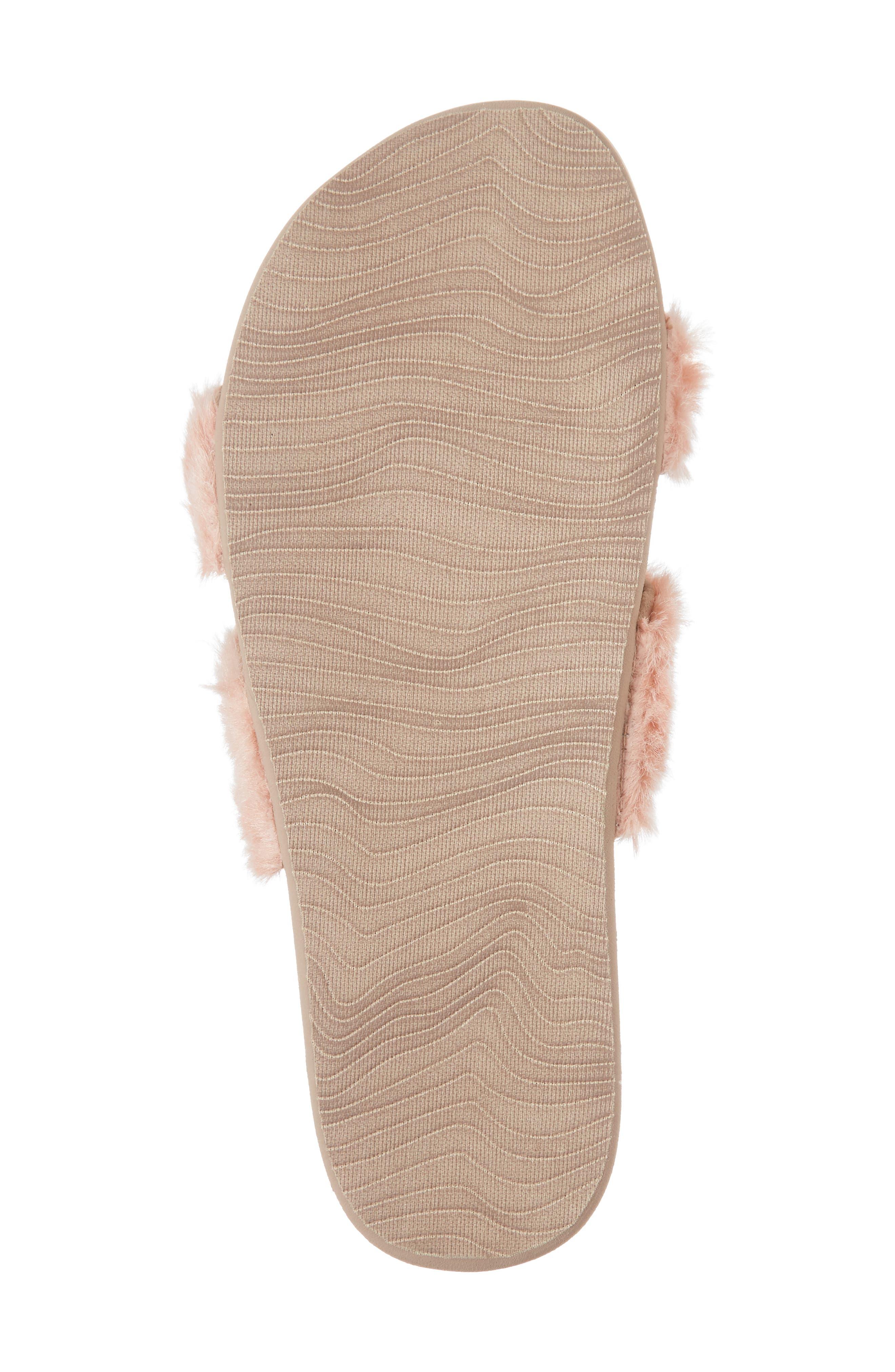 Bounce Faux Fur Double Strap Slide Sandal,                             Alternate thumbnail 6, color,                             Blush