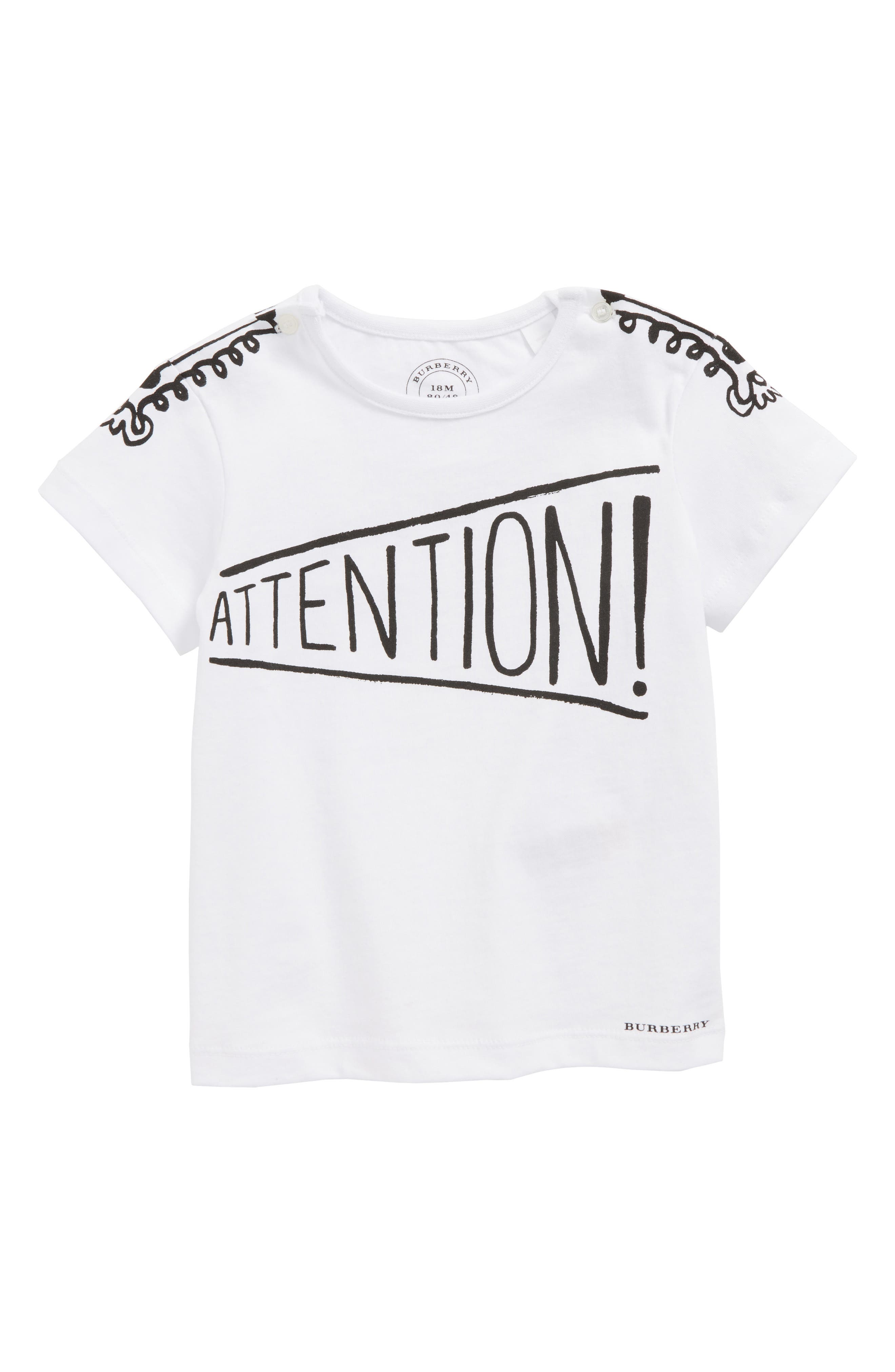 Attention T-Shirt,                             Main thumbnail 1, color,                             White