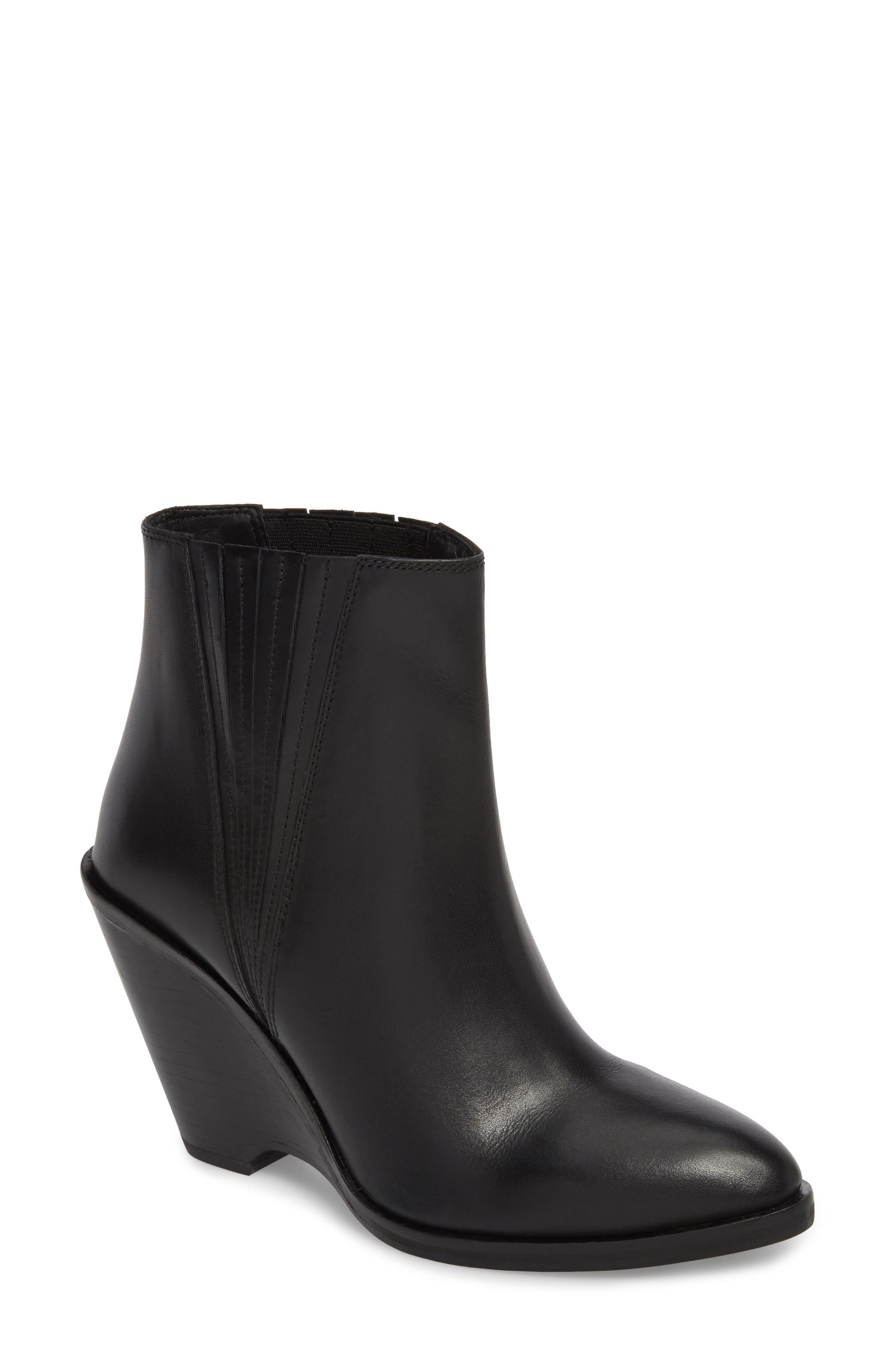 Park Demi Wedge Bootie,                         Main,                         color, Black Leather