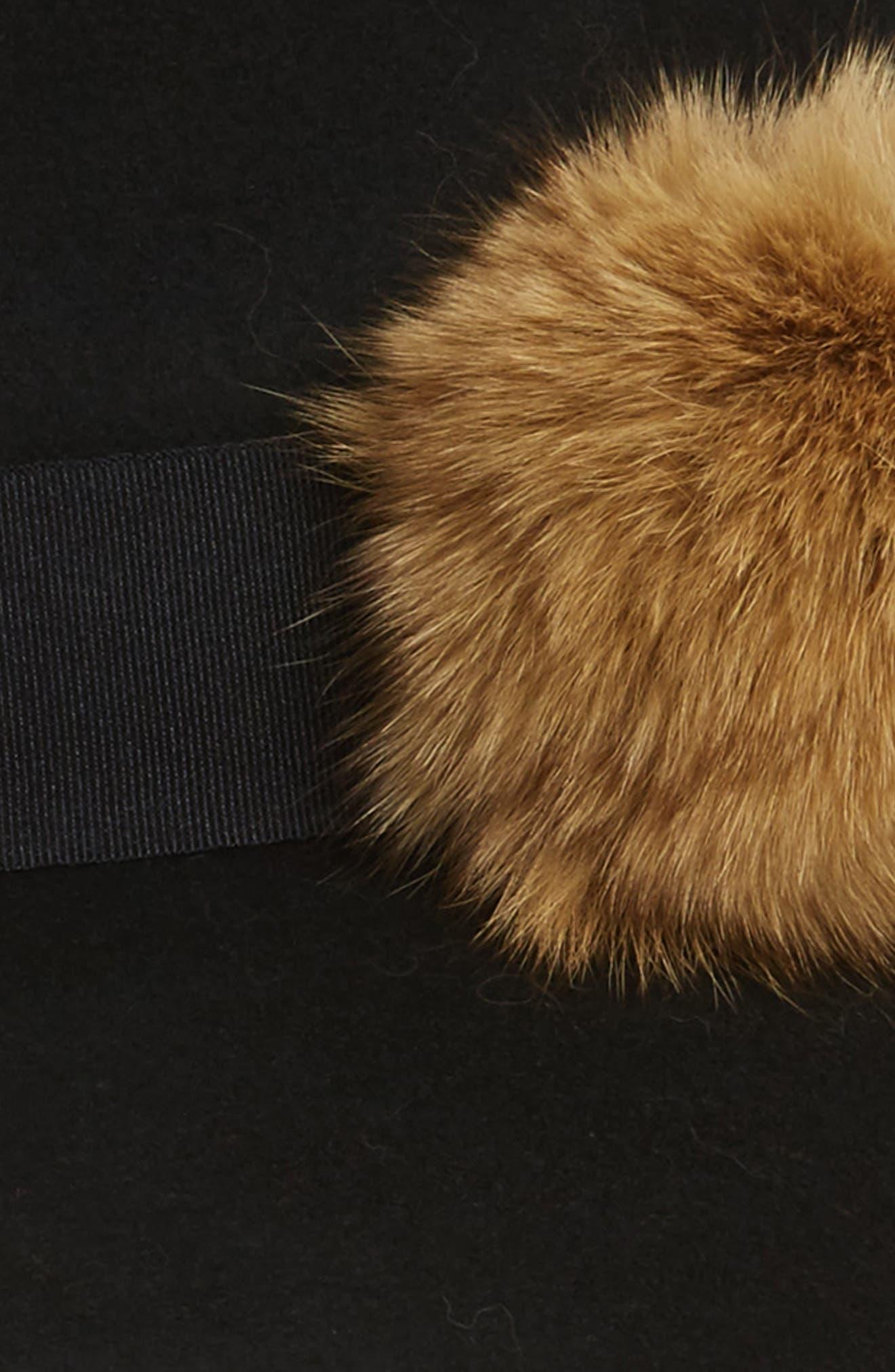 Paris Genuine Fox Fur Trim Fedora,                             Alternate thumbnail 2, color,                             Black