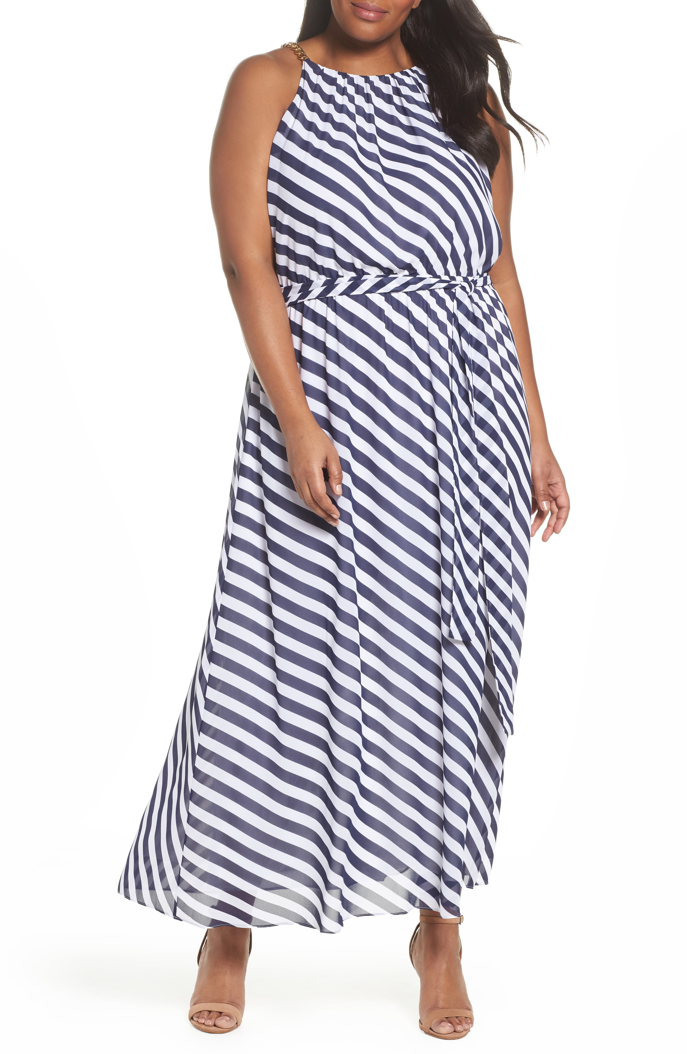 MICHAEL Michael Kors Chain Neck Maxi Dress (Plus Size)