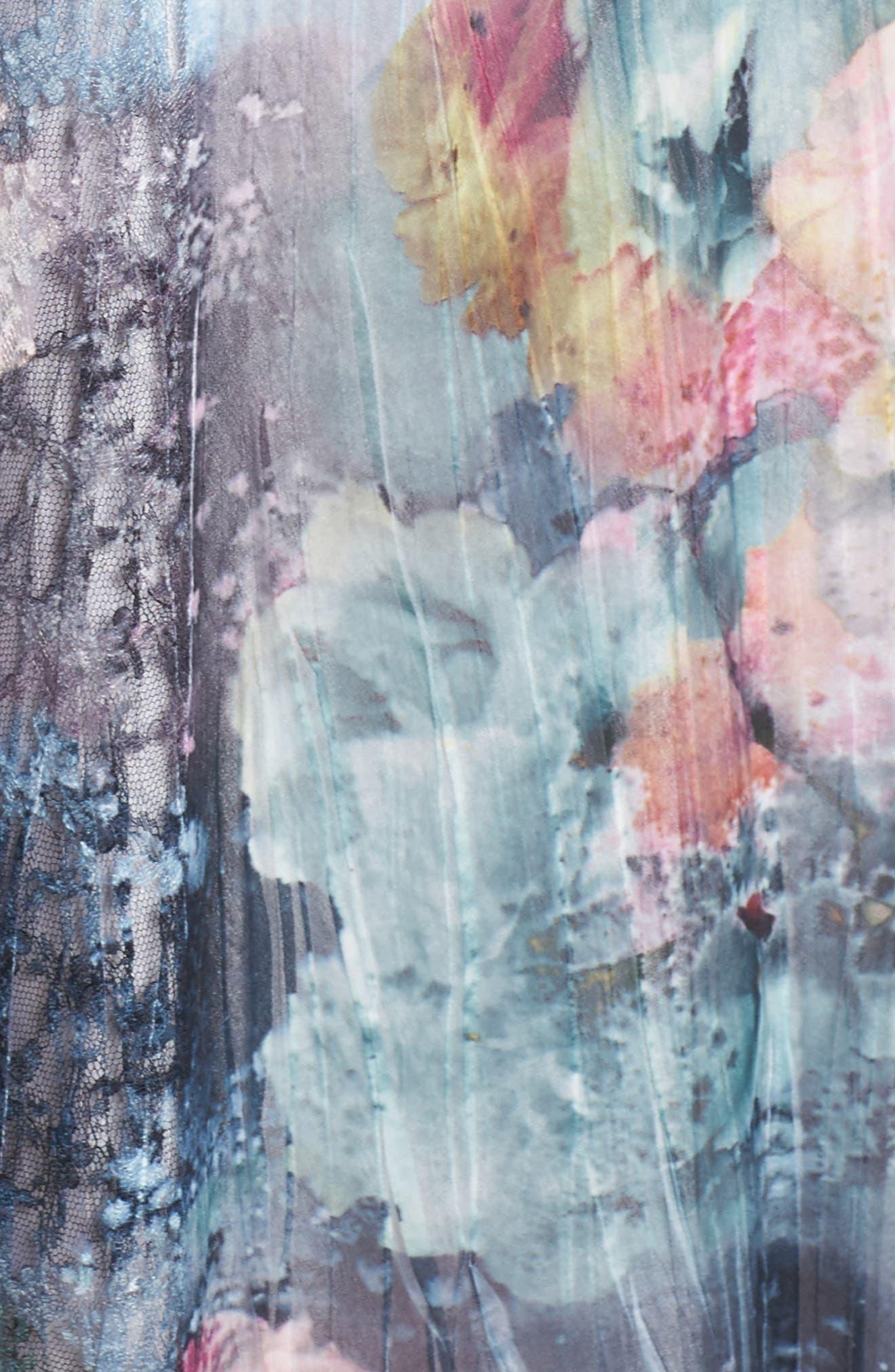 Dress Floral Chiffon & Lace Dress,                             Alternate thumbnail 5, color,                             Rapture Rose