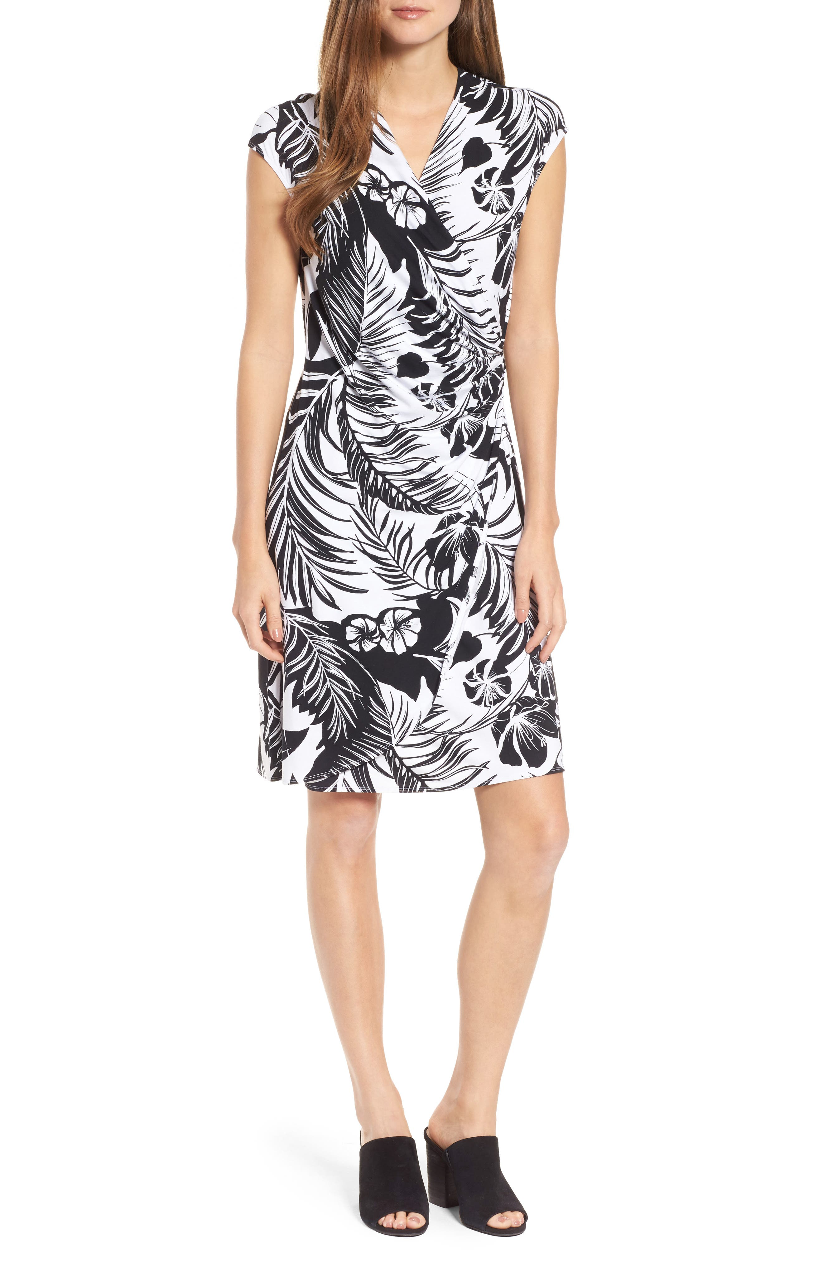 Let's Be Fronds Faux Wrap Dress,                             Main thumbnail 1, color,                             Black