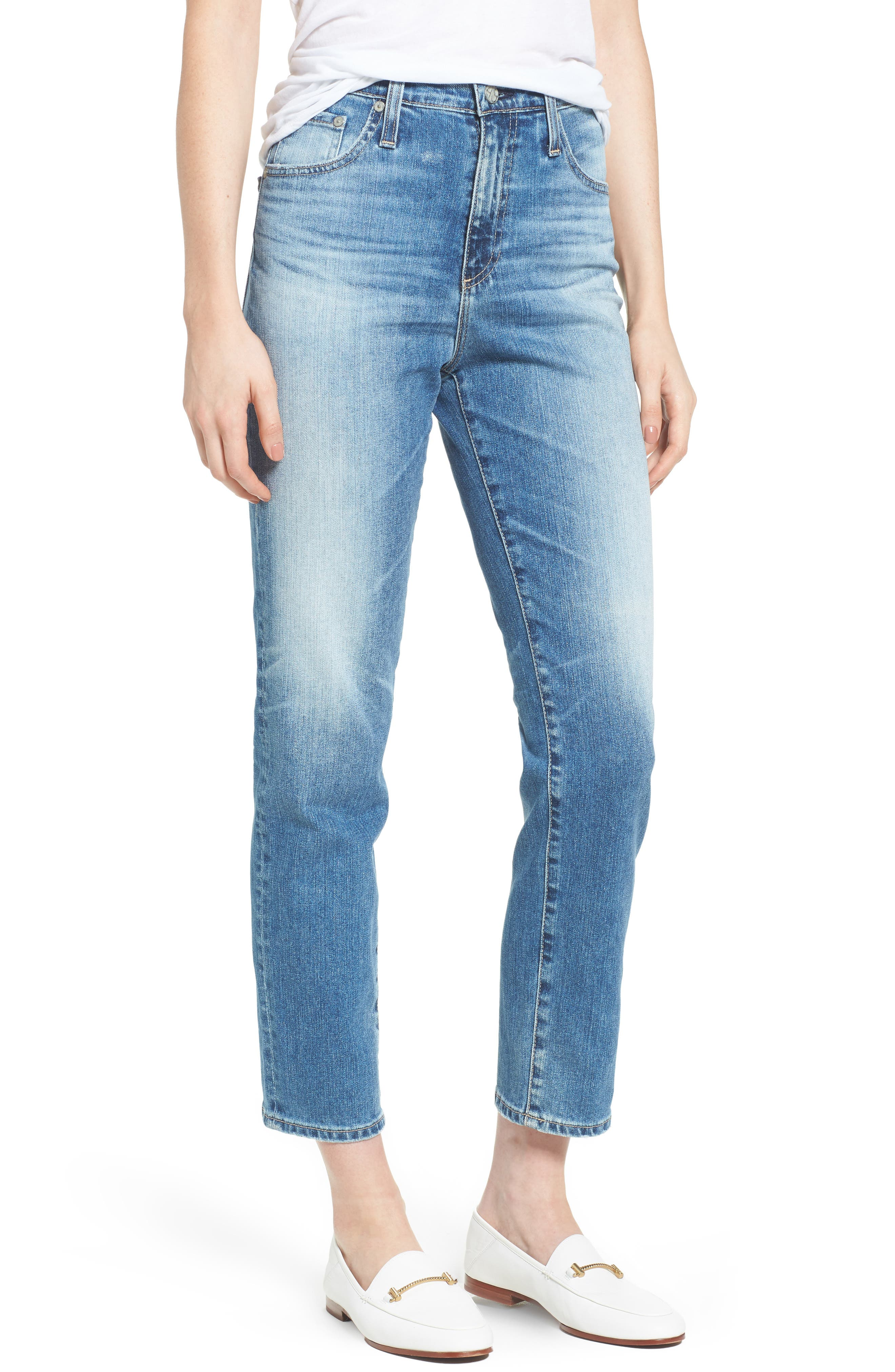 Alternate Image 1 Selected - AG 'The Phoebe' Vintage High Rise Straight Leg Jeans (16 Years Indigo Deluge)