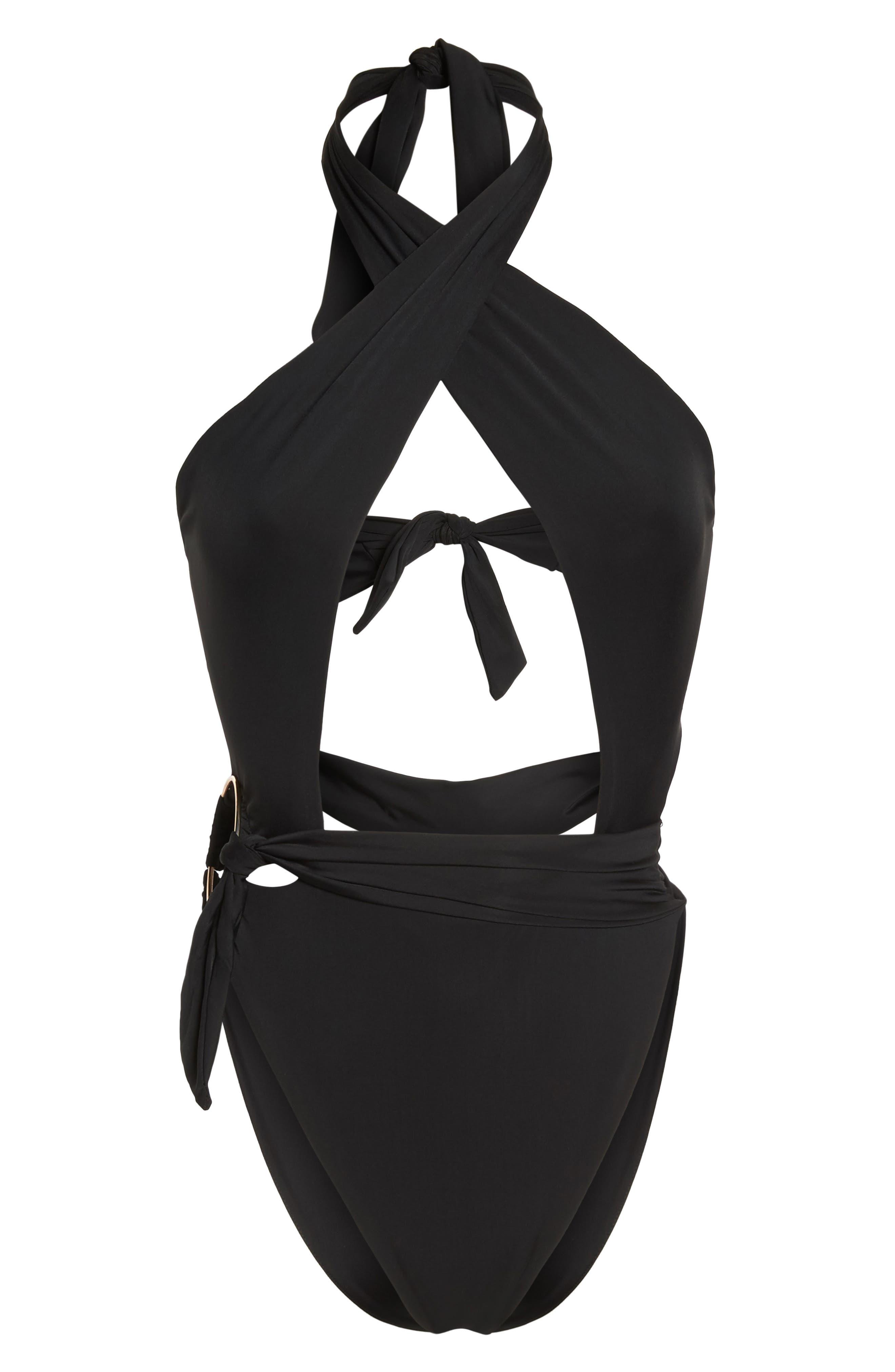 Havana One-Piece Swimsuit,                             Alternate thumbnail 6, color,                             Black