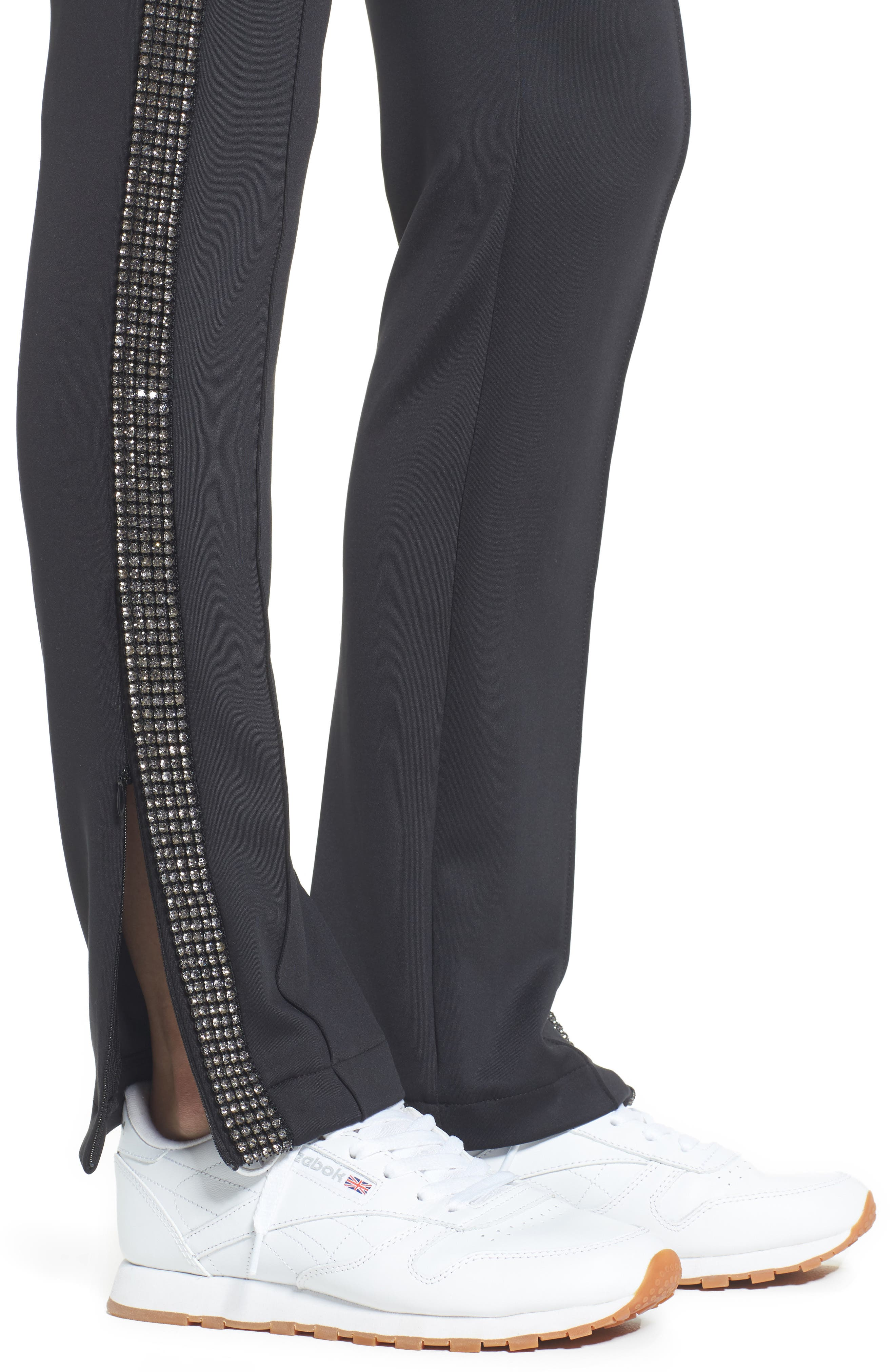 Rhinestone Side Stripe Track Pants,                             Alternate thumbnail 4, color,                             Black