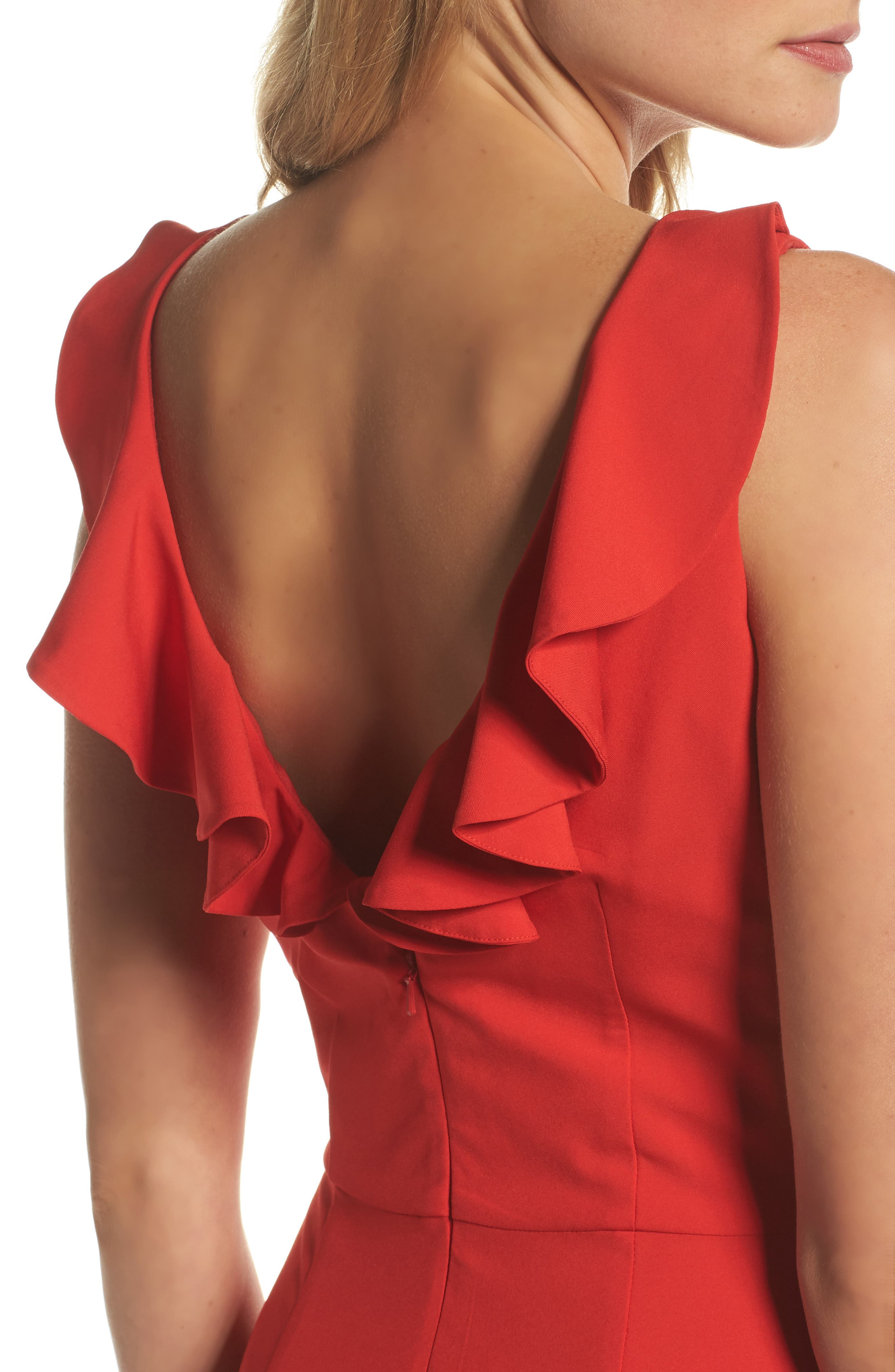 Jemima Ruffle Back Mermaid Gown,                             Alternate thumbnail 4, color,                             Red