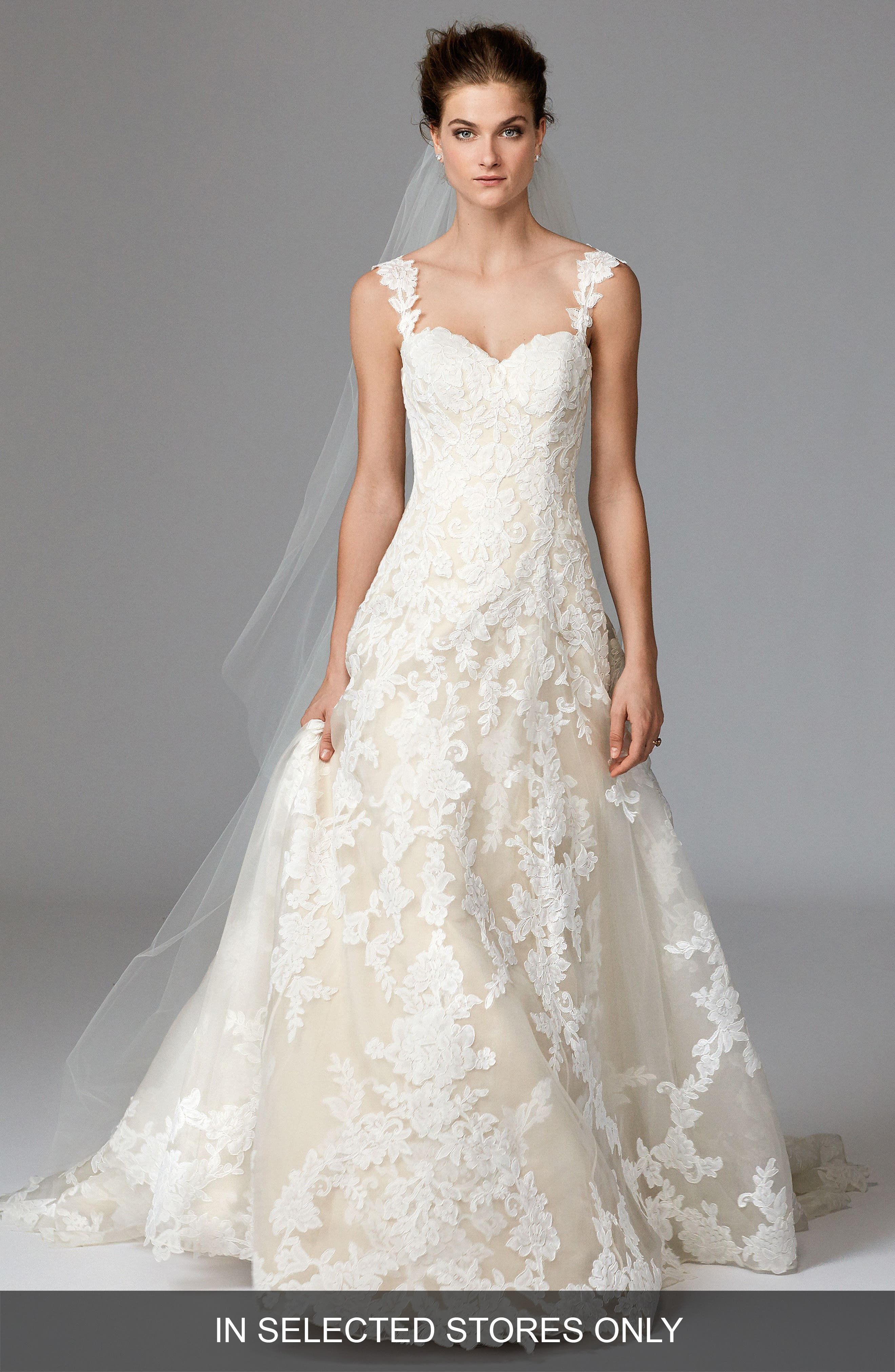 Aven Lace & Organza A-Line Gown,                         Main,                         color, Ivory/ Nude