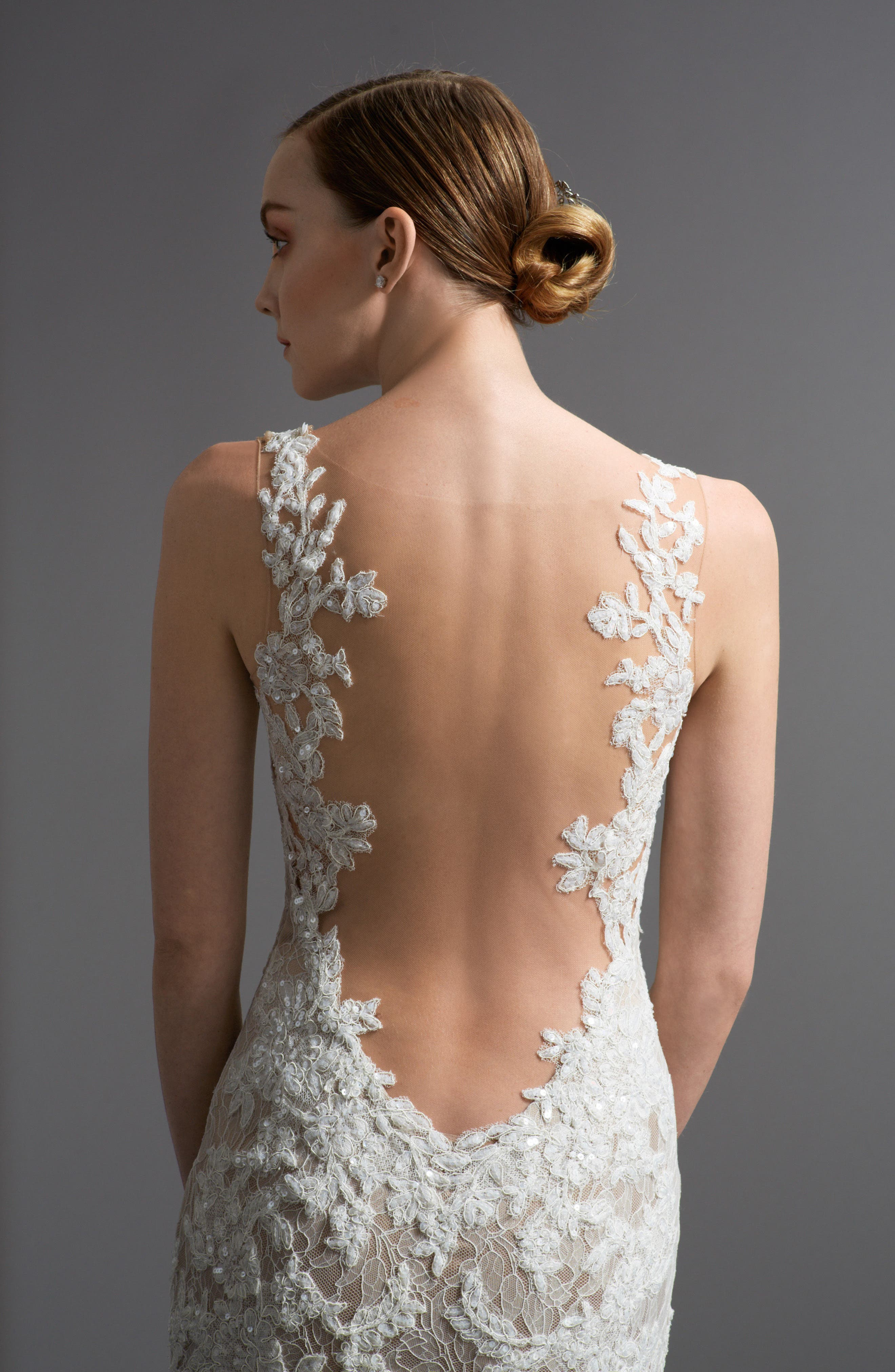 Alternate Image 4  - Watters Cinzia Lace & Tulle Mermaid Gown