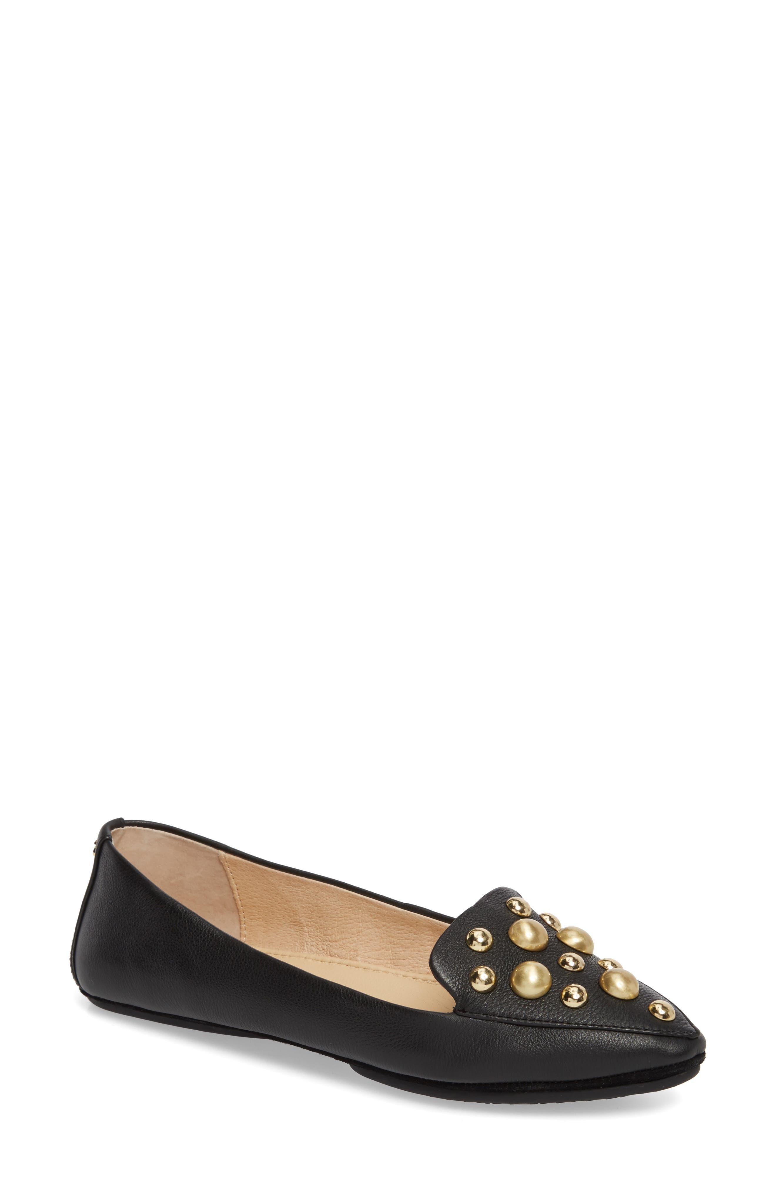 Vera Studded Loafer,                         Main,                         color, Black/ Black Leather