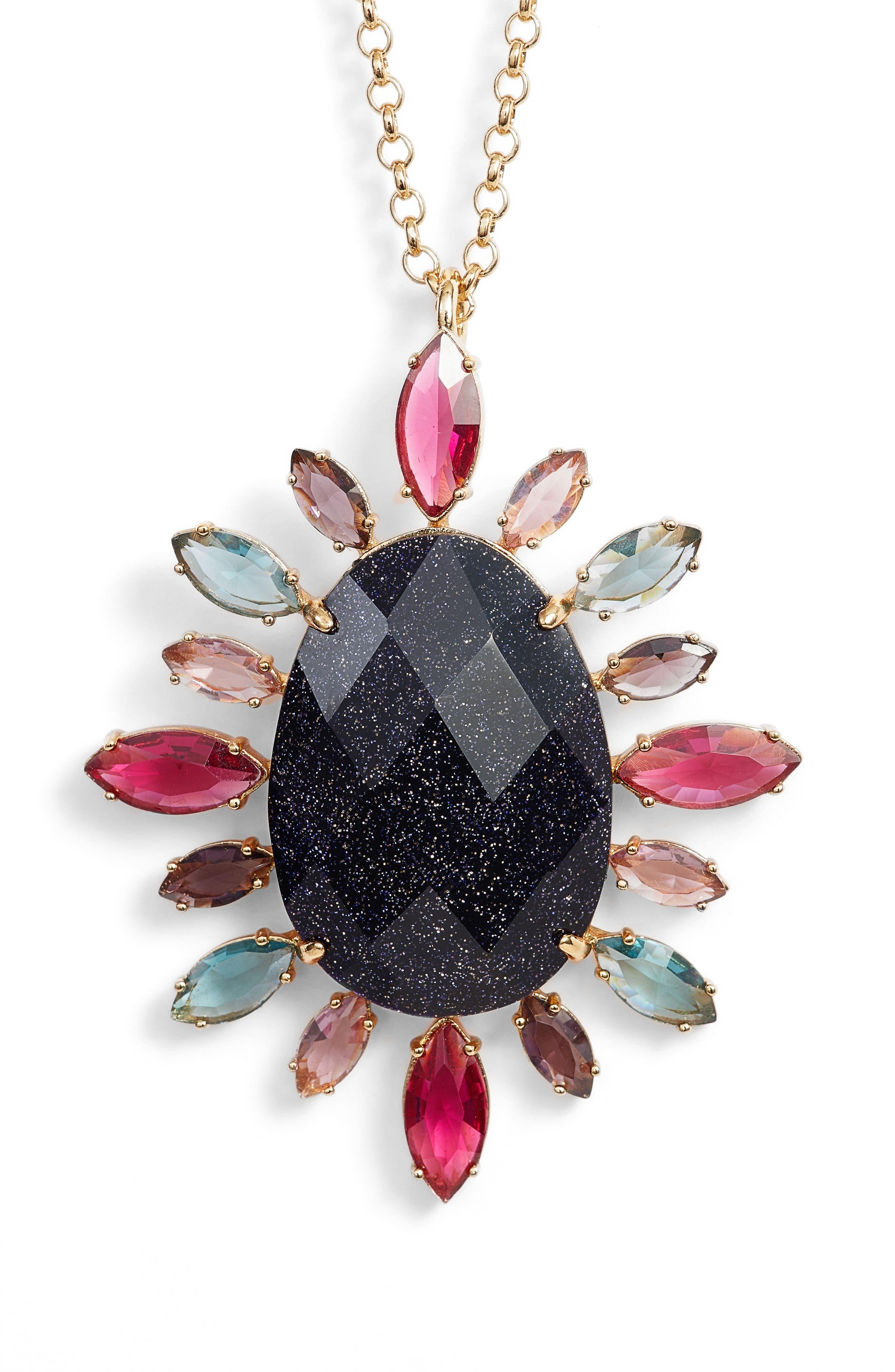 night sky pendant necklace,                             Alternate thumbnail 2, color,                             Purple Multi