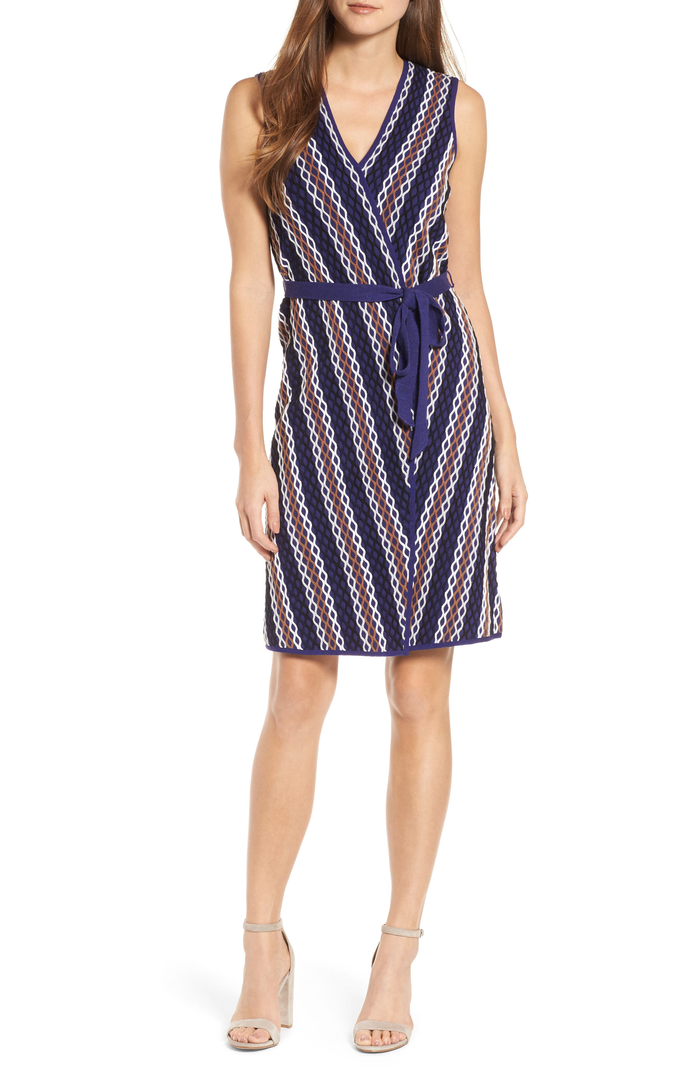 Squiggled Up Faux Wrap Dress,                         Main,                         color, Multi