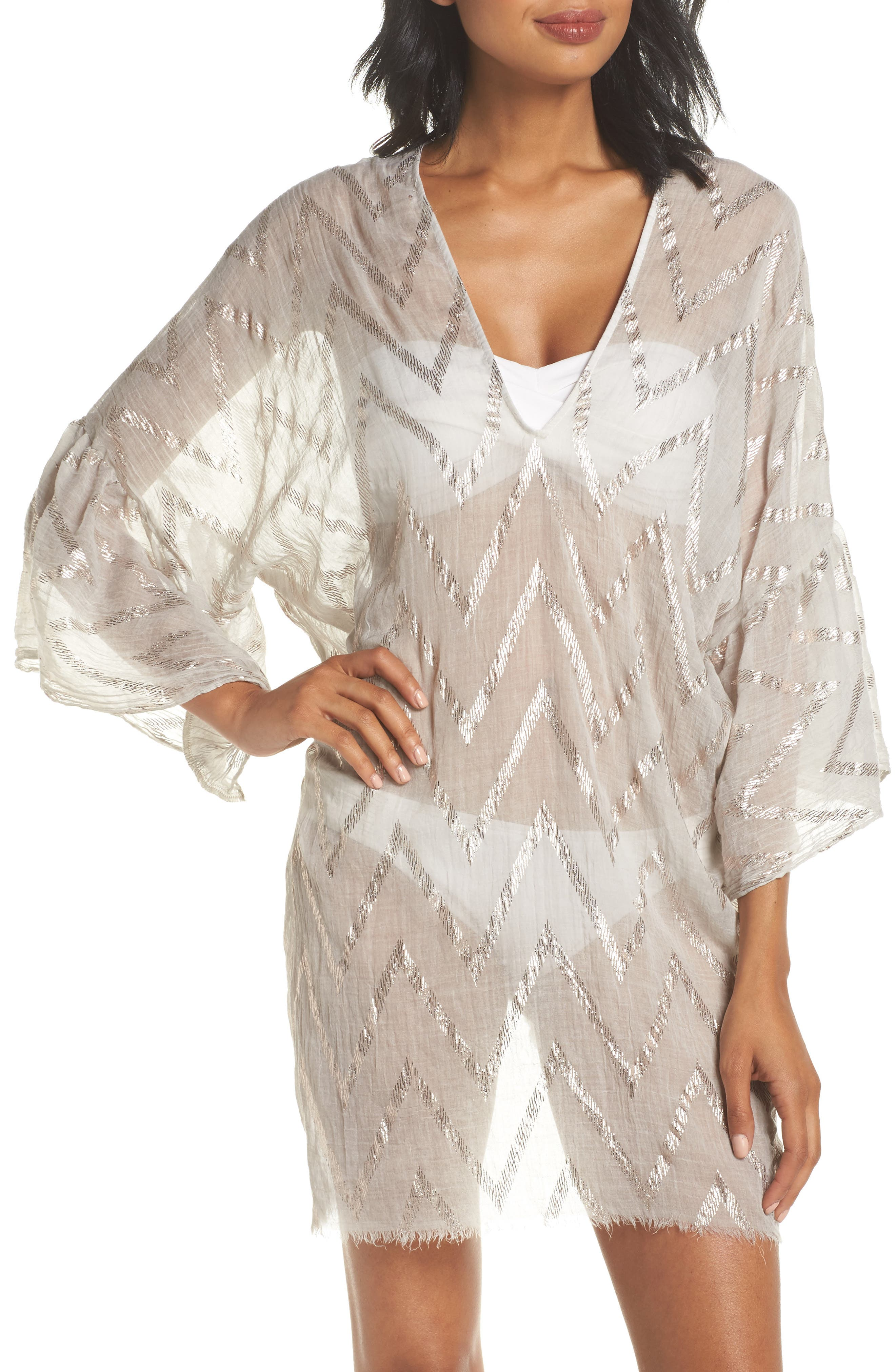 Metallic Chevron Cover-Up Caftan,                             Main thumbnail 1, color,                             Sand