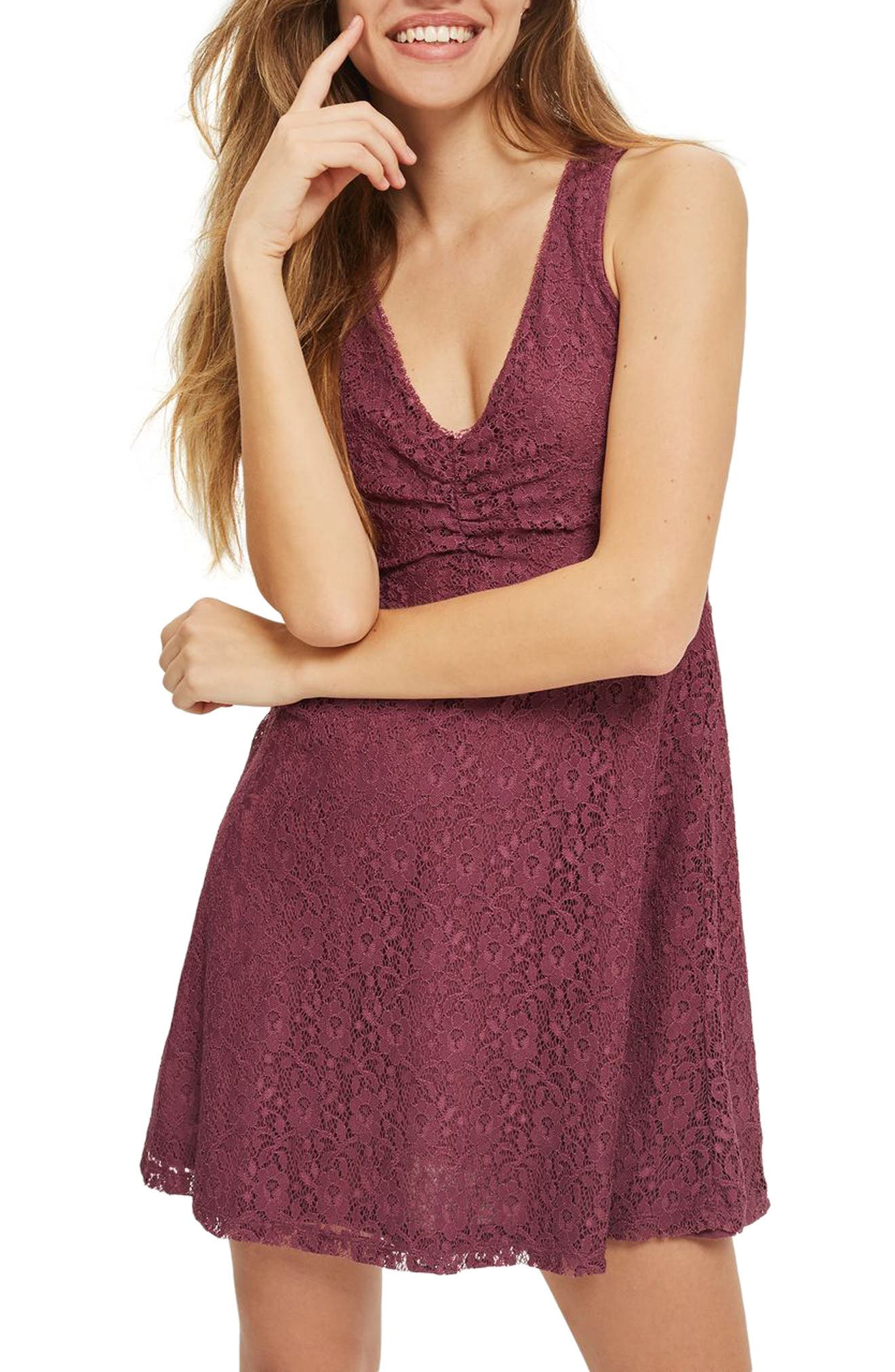 Lace-Up Lace Skater Dress,                         Main,                         color, Purple