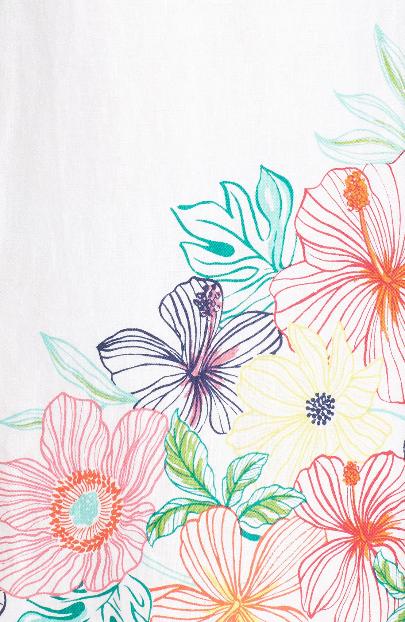 Hibiscus Sketch Shift Dress,                             Alternate thumbnail 5, color,                             White