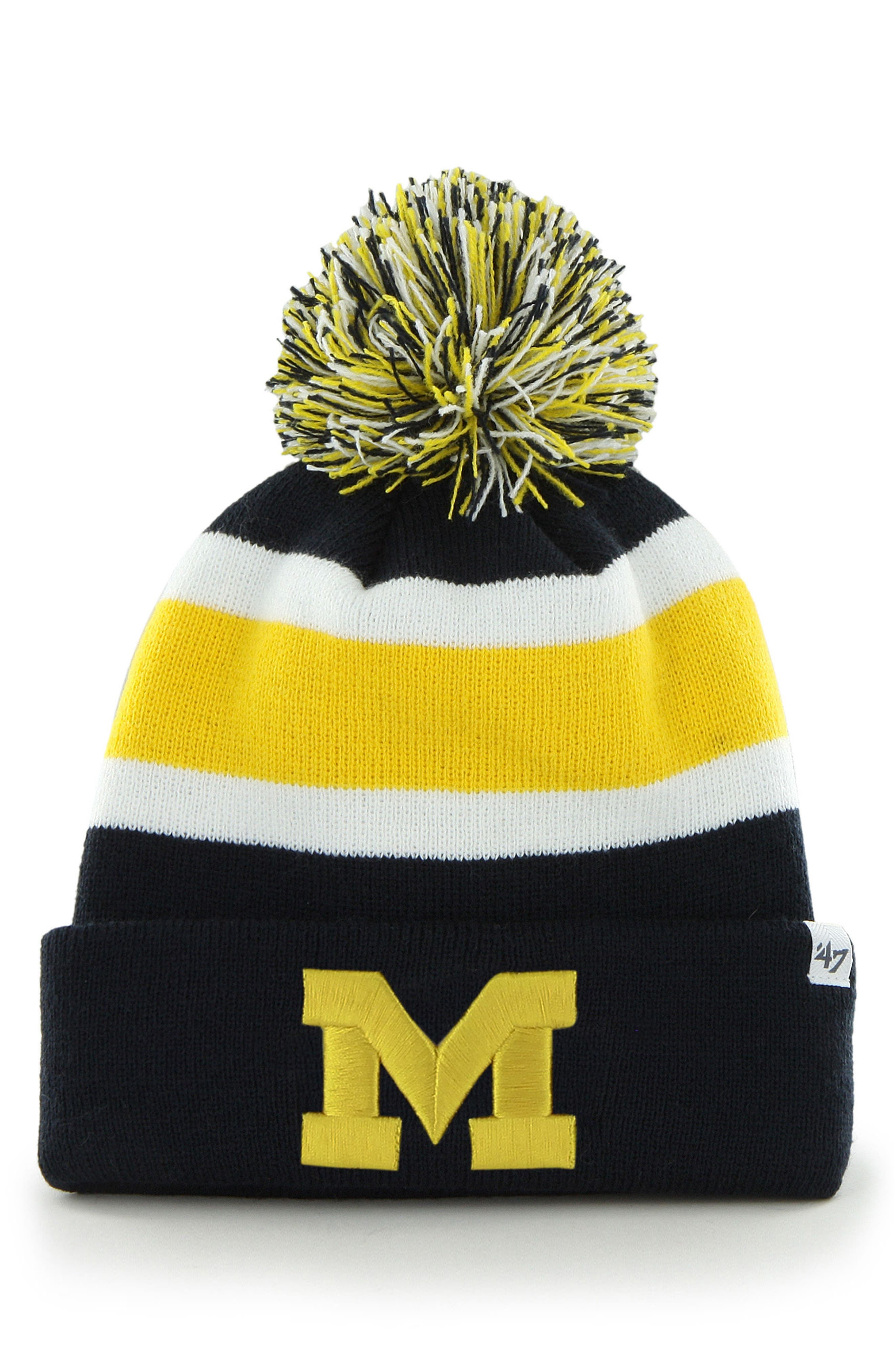 Collegiate Breakaway Pom Knit Beanie,                             Main thumbnail 1, color,                             Michigan Wolverines
