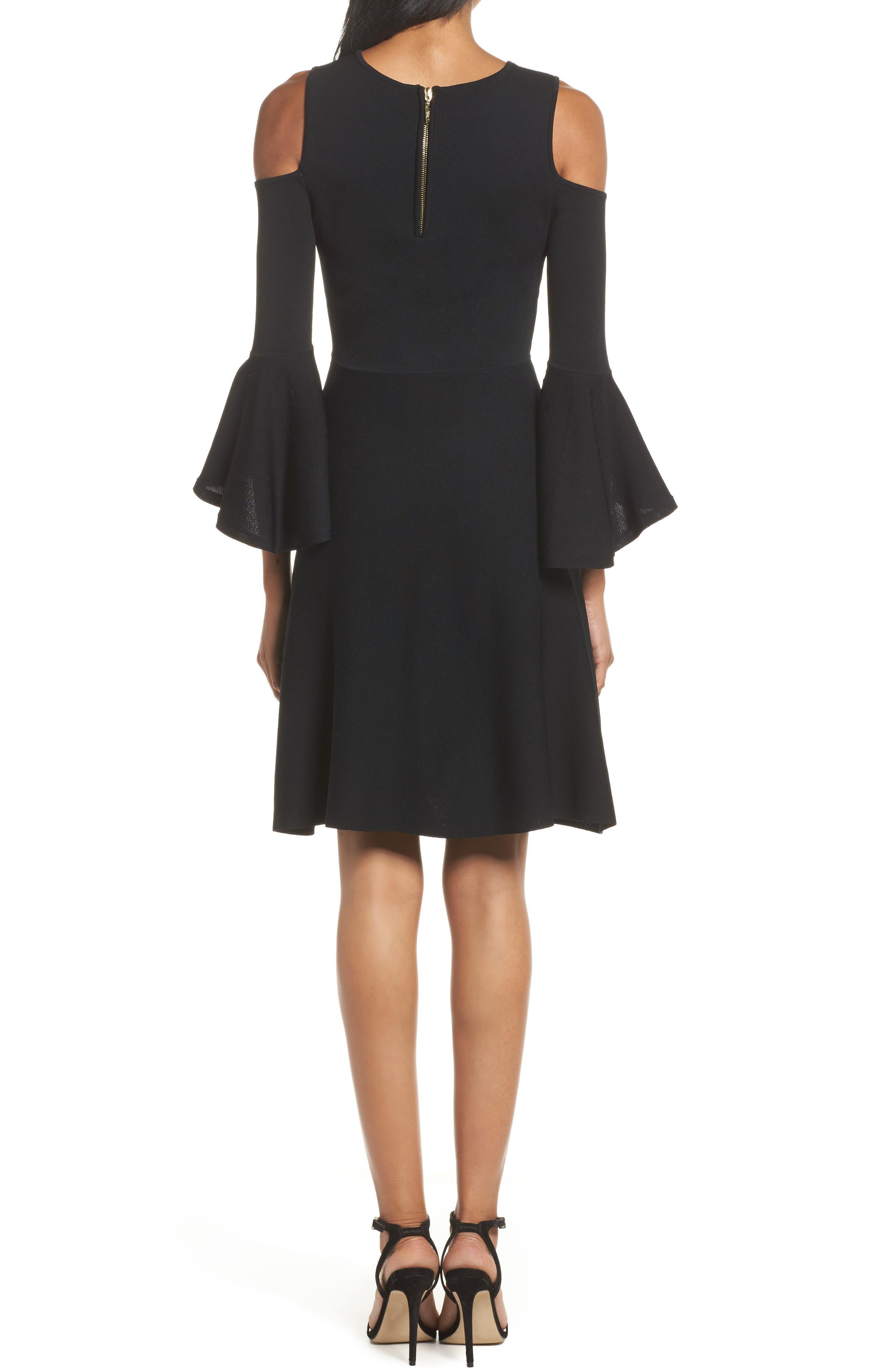 Cold Shoulder Fit & Flare Dress,                             Alternate thumbnail 2, color,                             Black