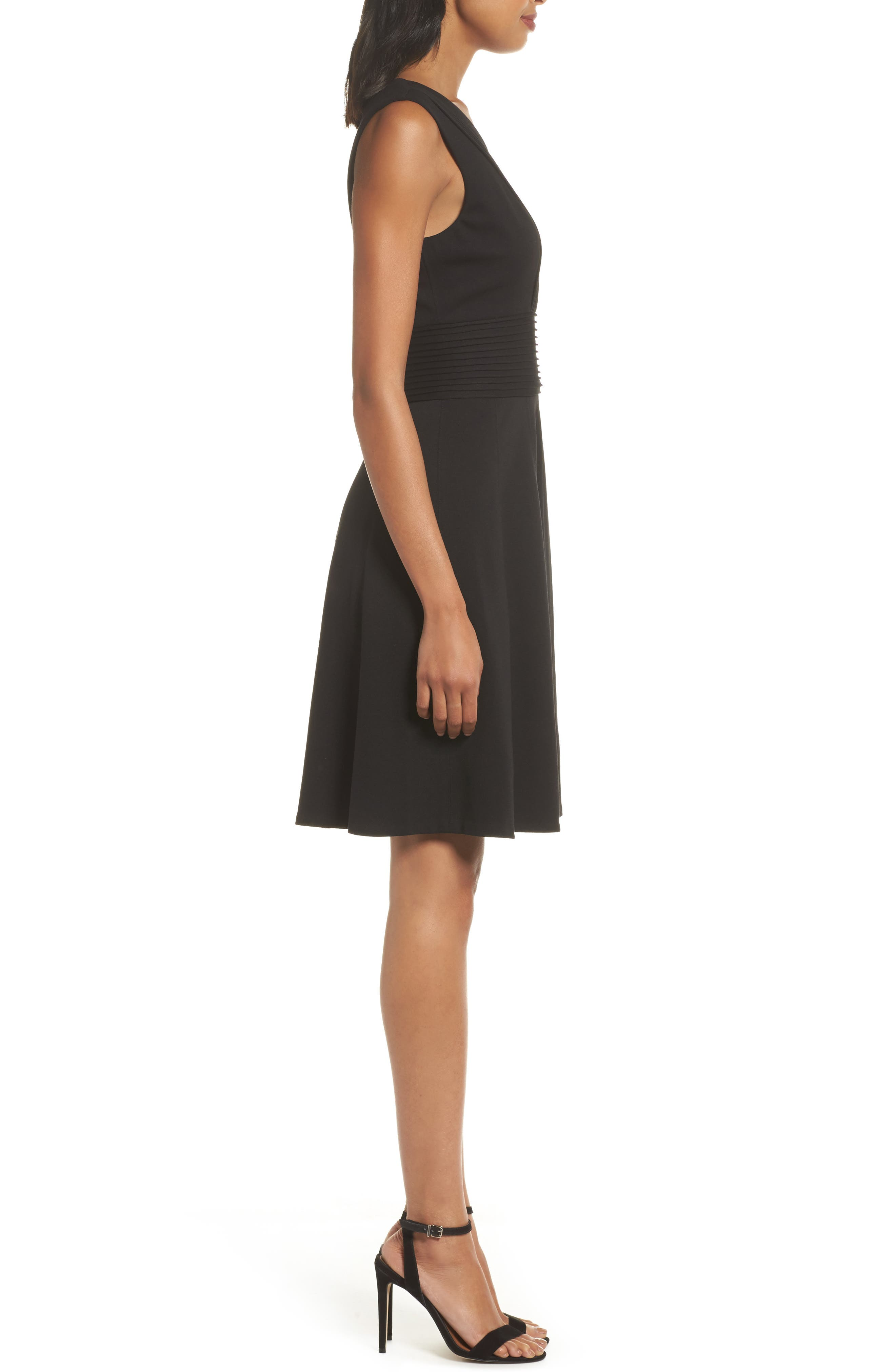 Pintuck Fit & Flare Dress,                             Alternate thumbnail 3, color,                             Black