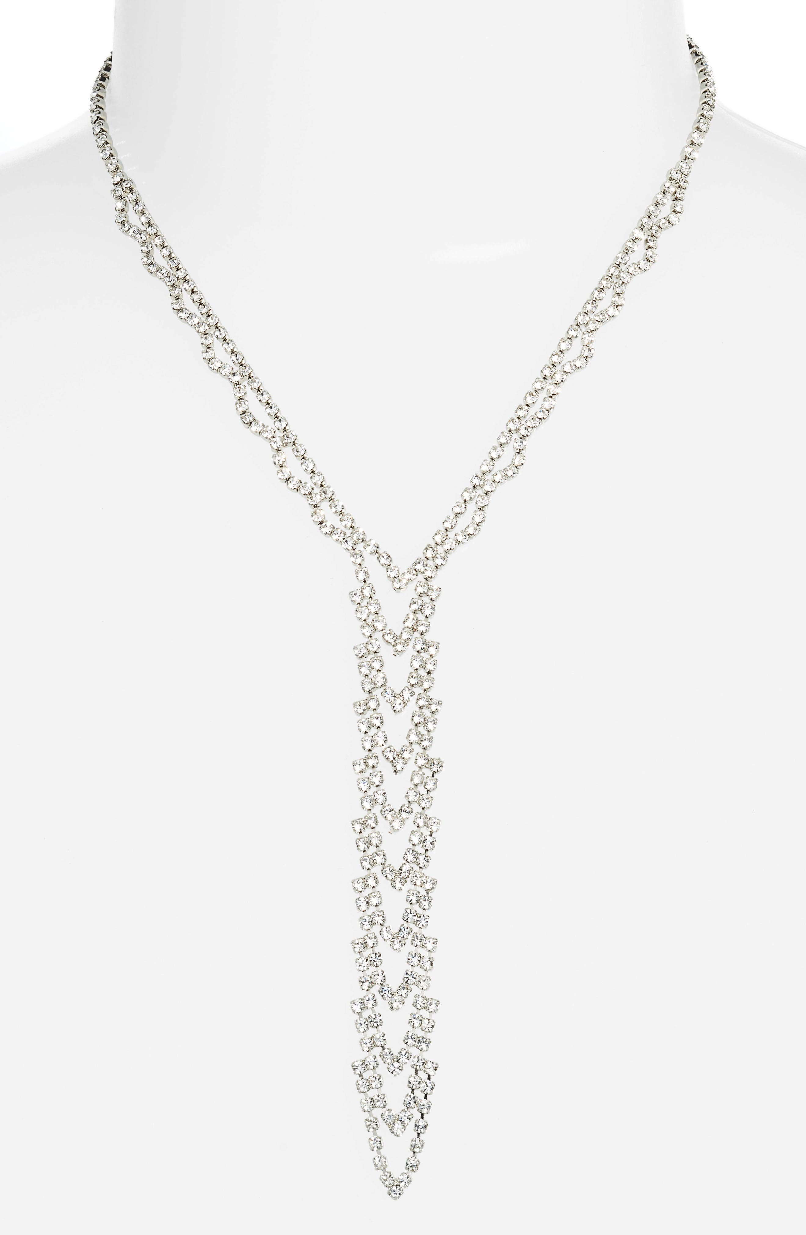 Crystal Ladder Necklace,                         Main,                         color, Silver