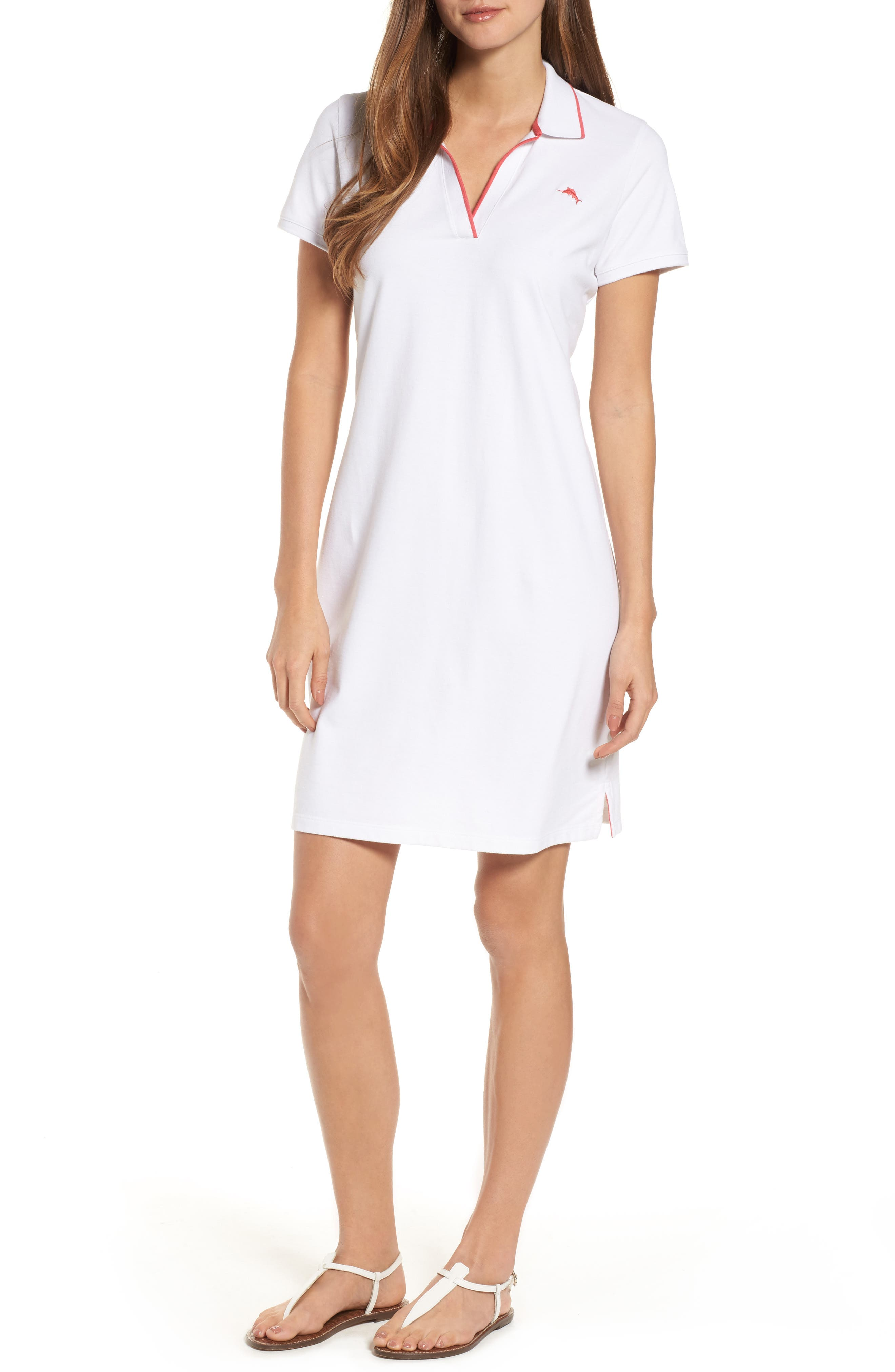 Tropicool Tipped Polo Dress,                         Main,                         color, White/ Cherry Pink