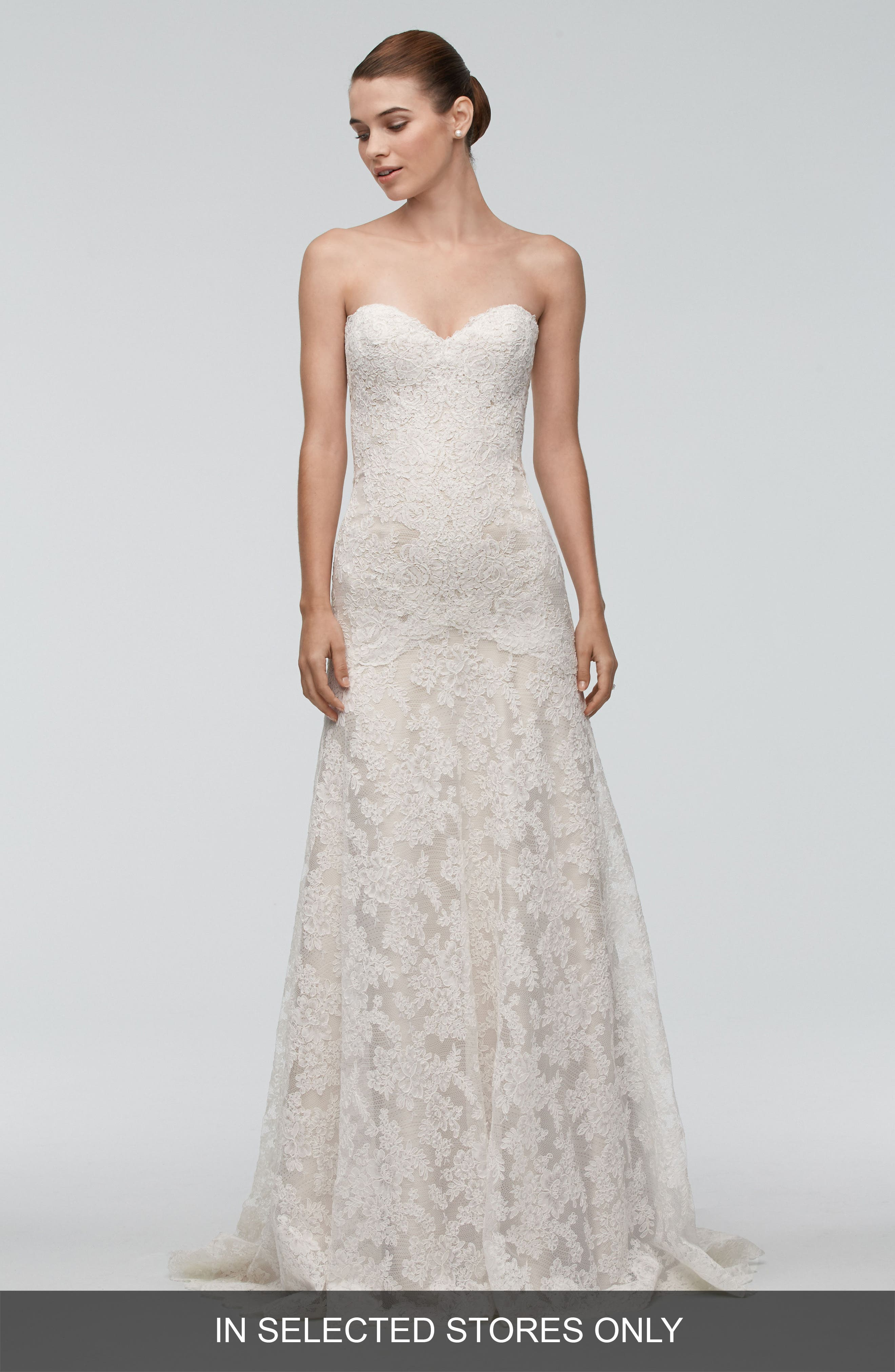 Oma Lace Trumpet Gown,                         Main,                         color, Ivory/ Champagne