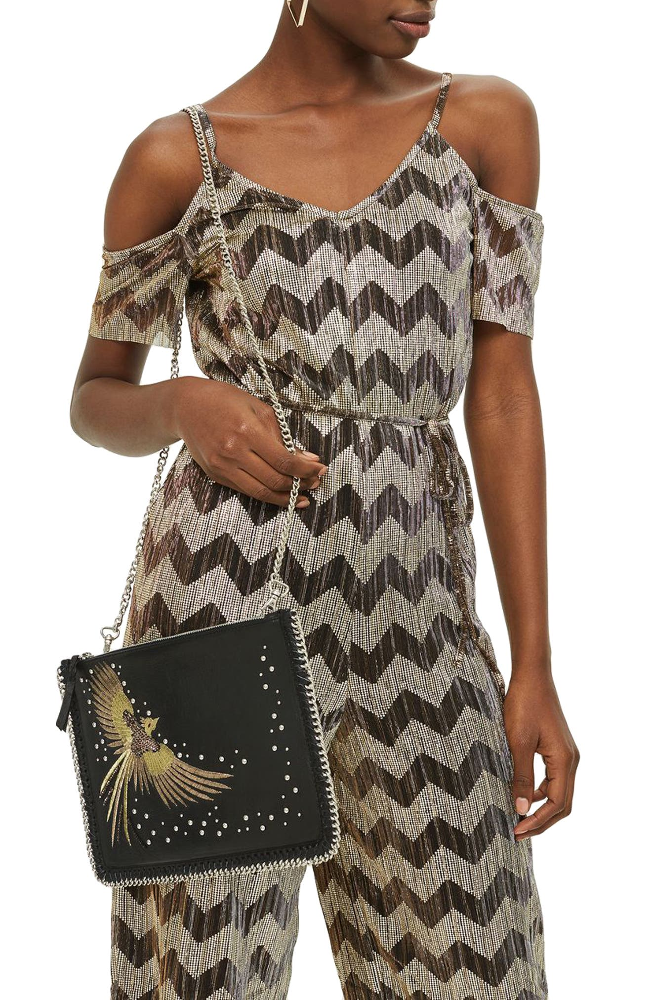 New Ava Bird Leather Crossbody Bag,                             Alternate thumbnail 2, color,                             Black Multi