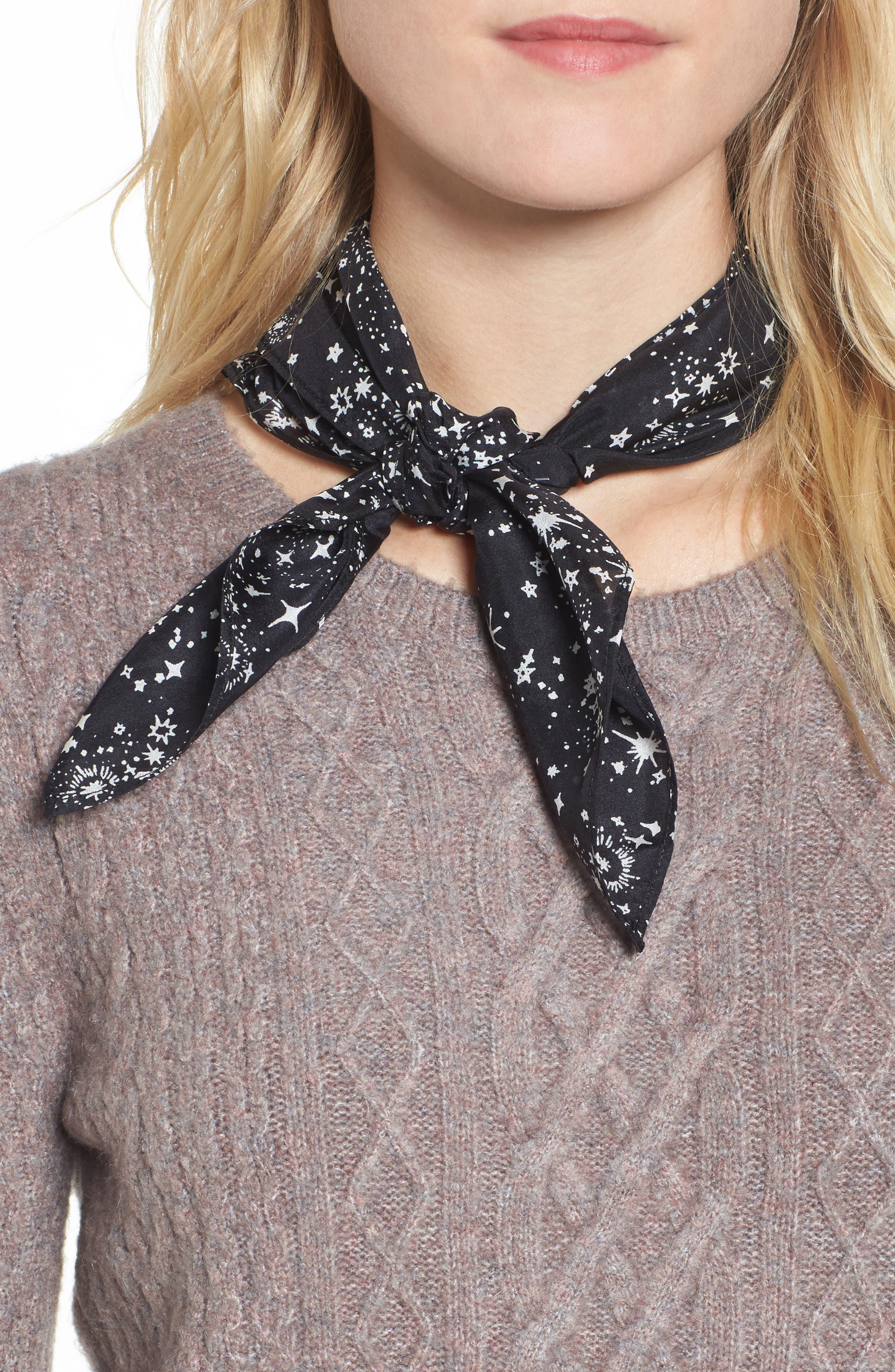Print Silk Neckerchief,                         Main,                         color, Black Starlight Dream
