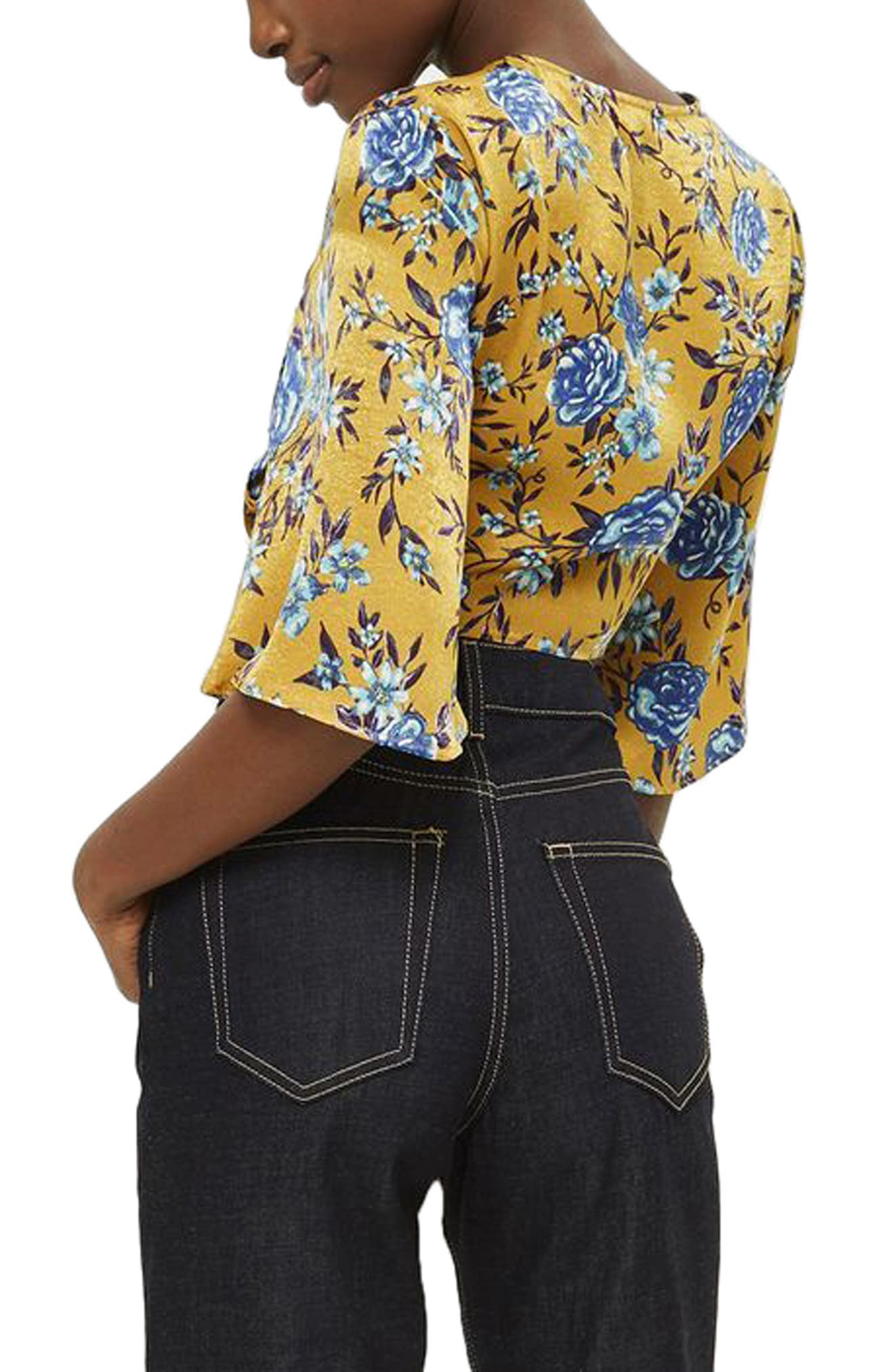 Floral Knot Front Crop Top,                             Alternate thumbnail 2, color,                             Mustard Multi