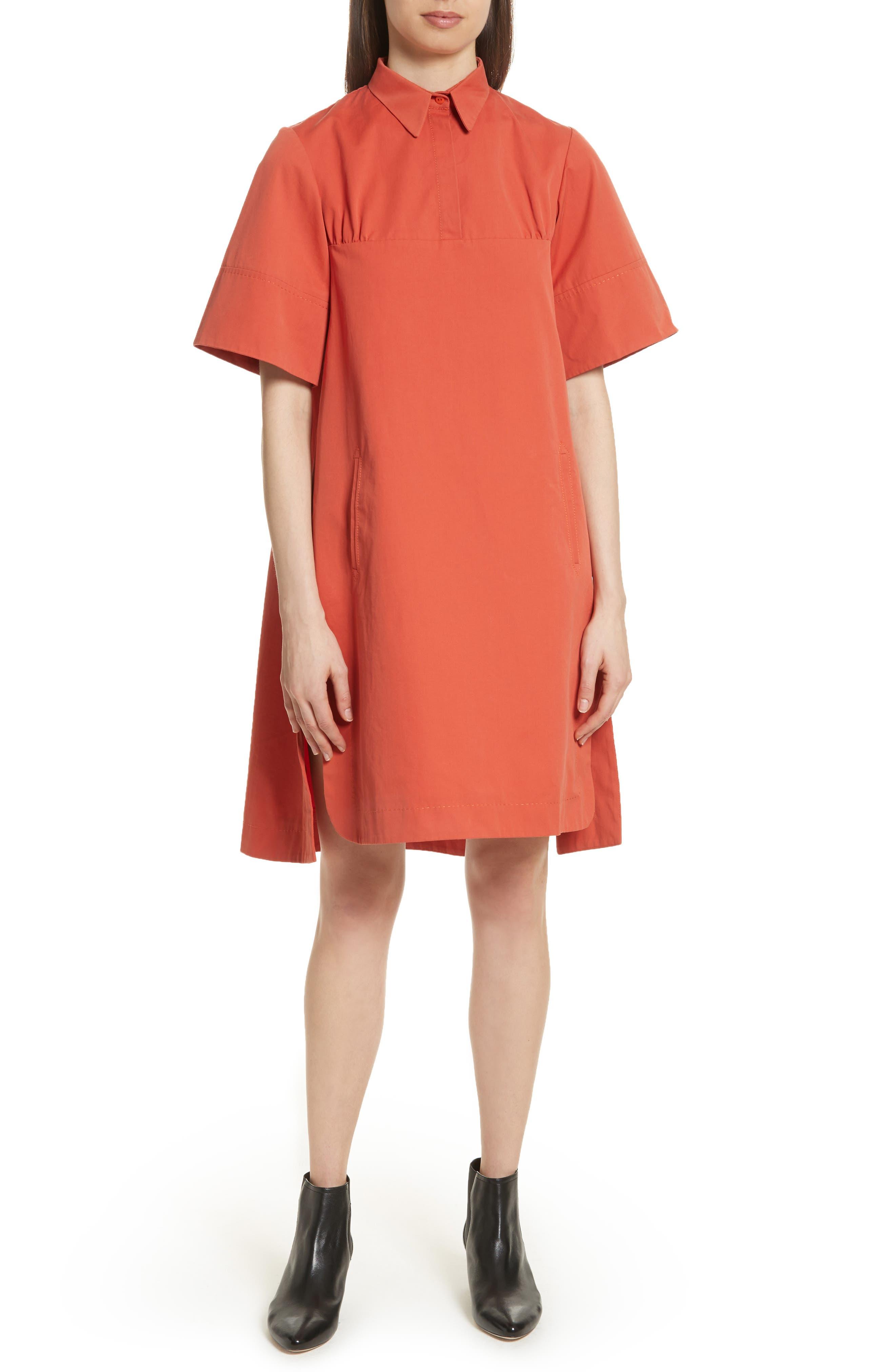 Cotton Poplin Shirtdress,                         Main,                         color, Rust