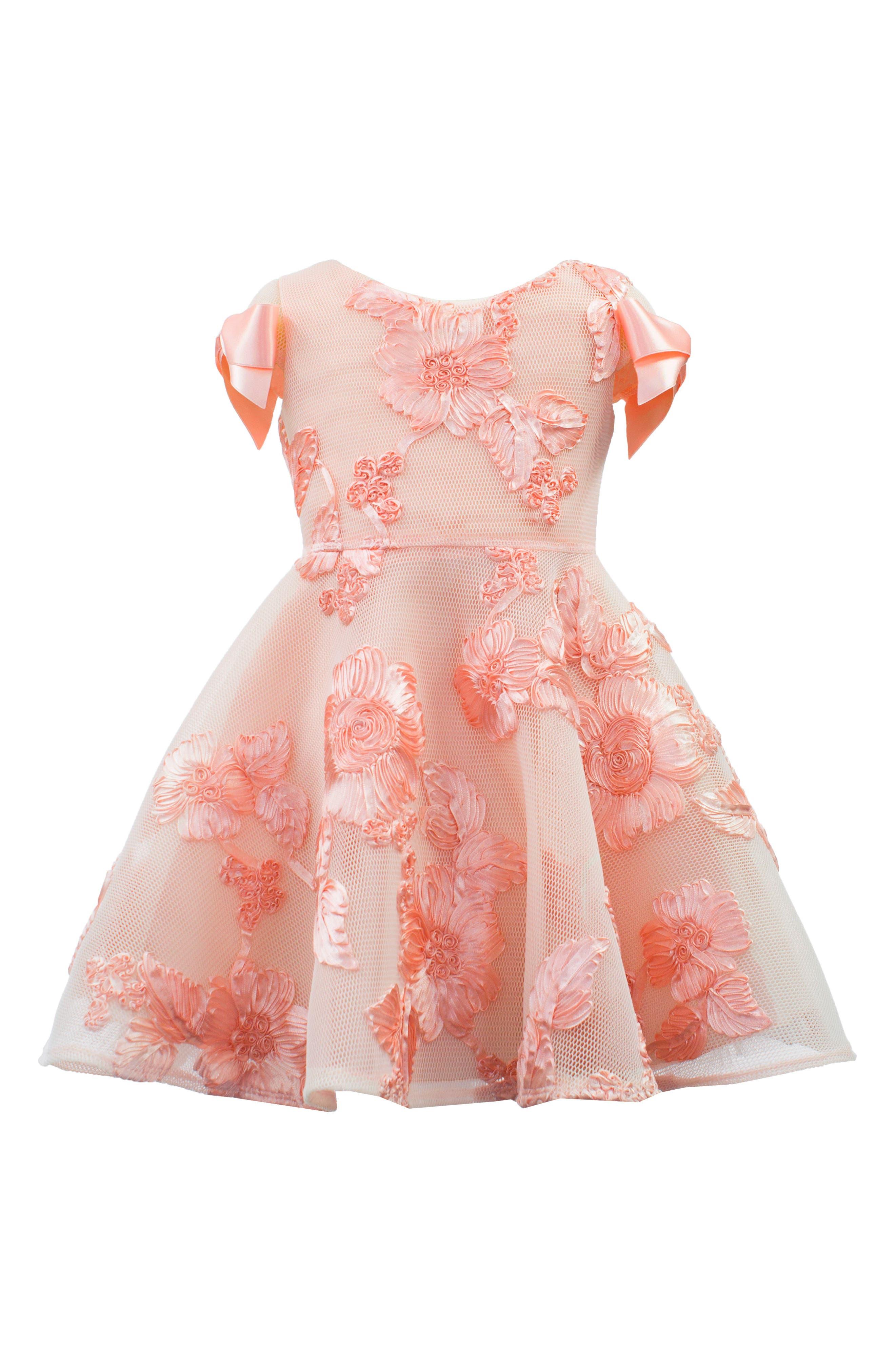 Soutache Embellished Mesh Dress,                             Main thumbnail 1, color,                             Blush Pink