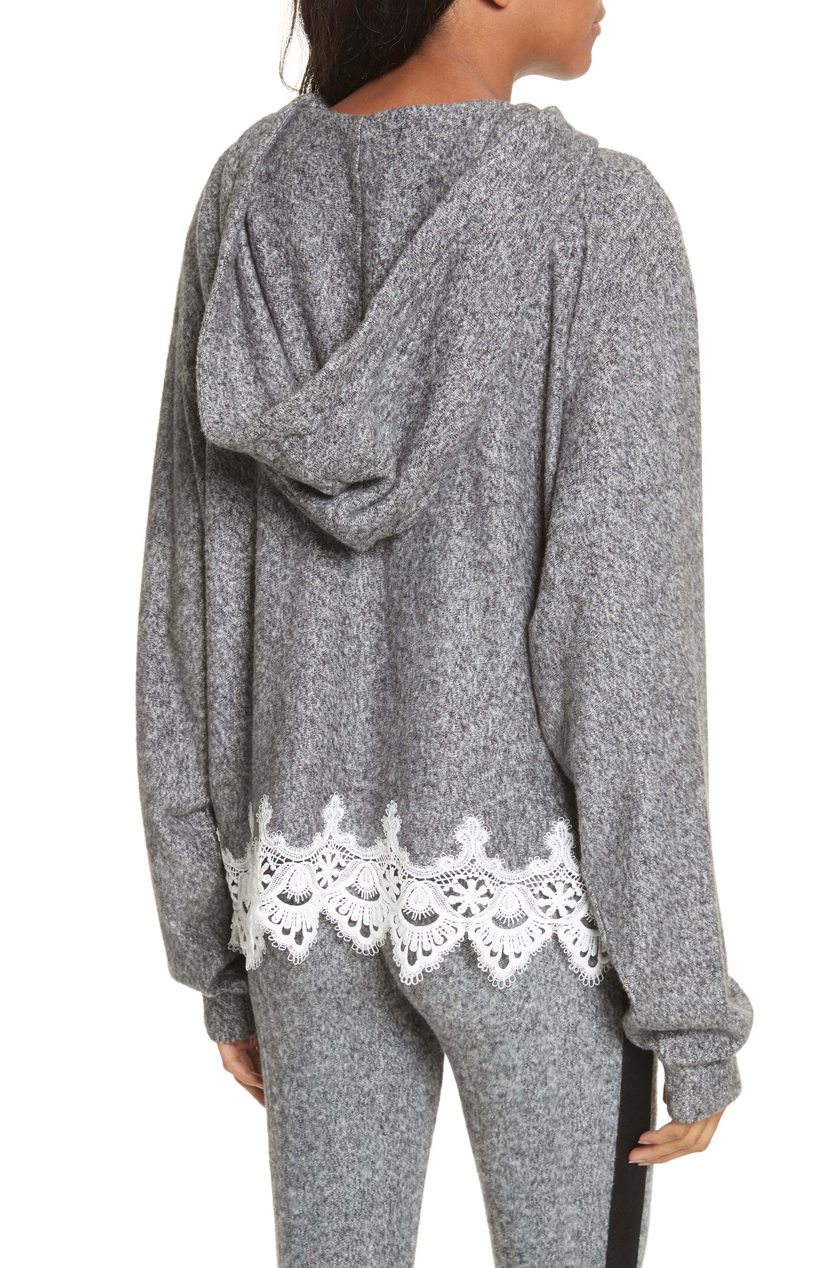 Lace Hem Hoodie,                             Alternate thumbnail 3, color,                             Grey