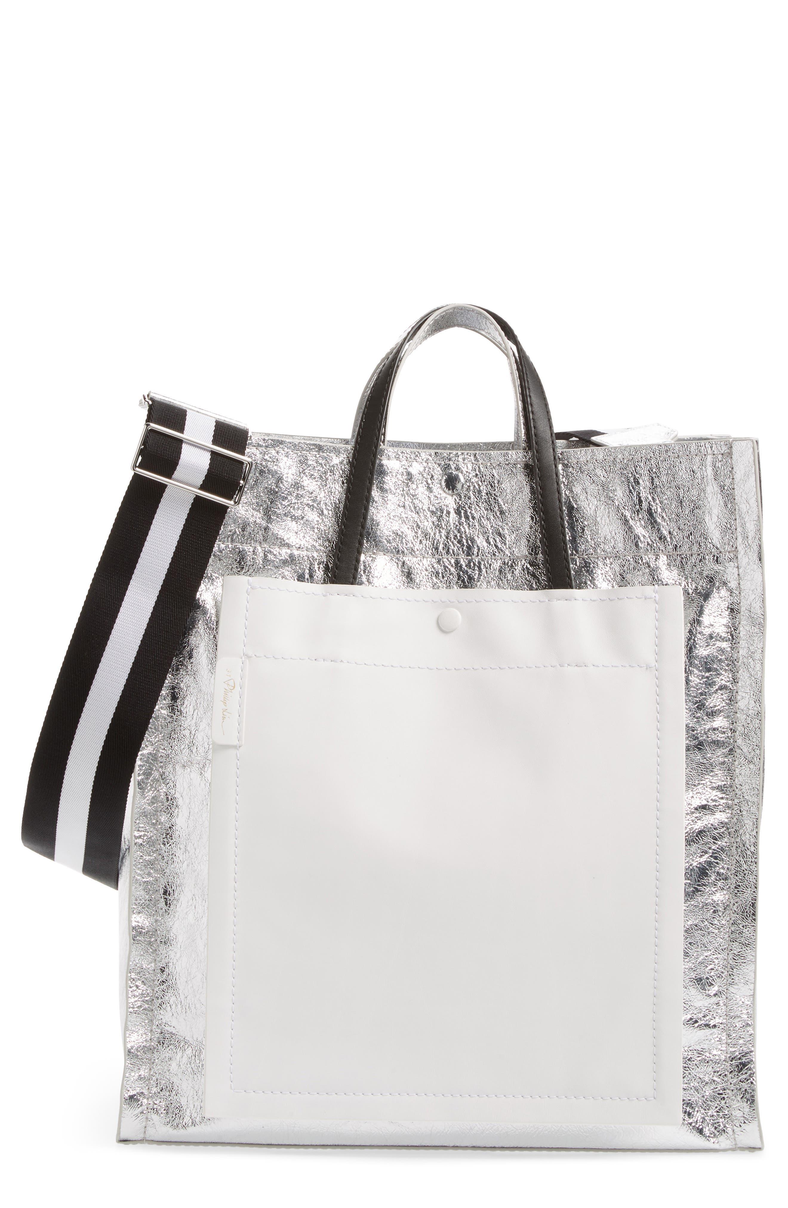 Leather Accordion Tote,                             Main thumbnail 1, color,                             Silver