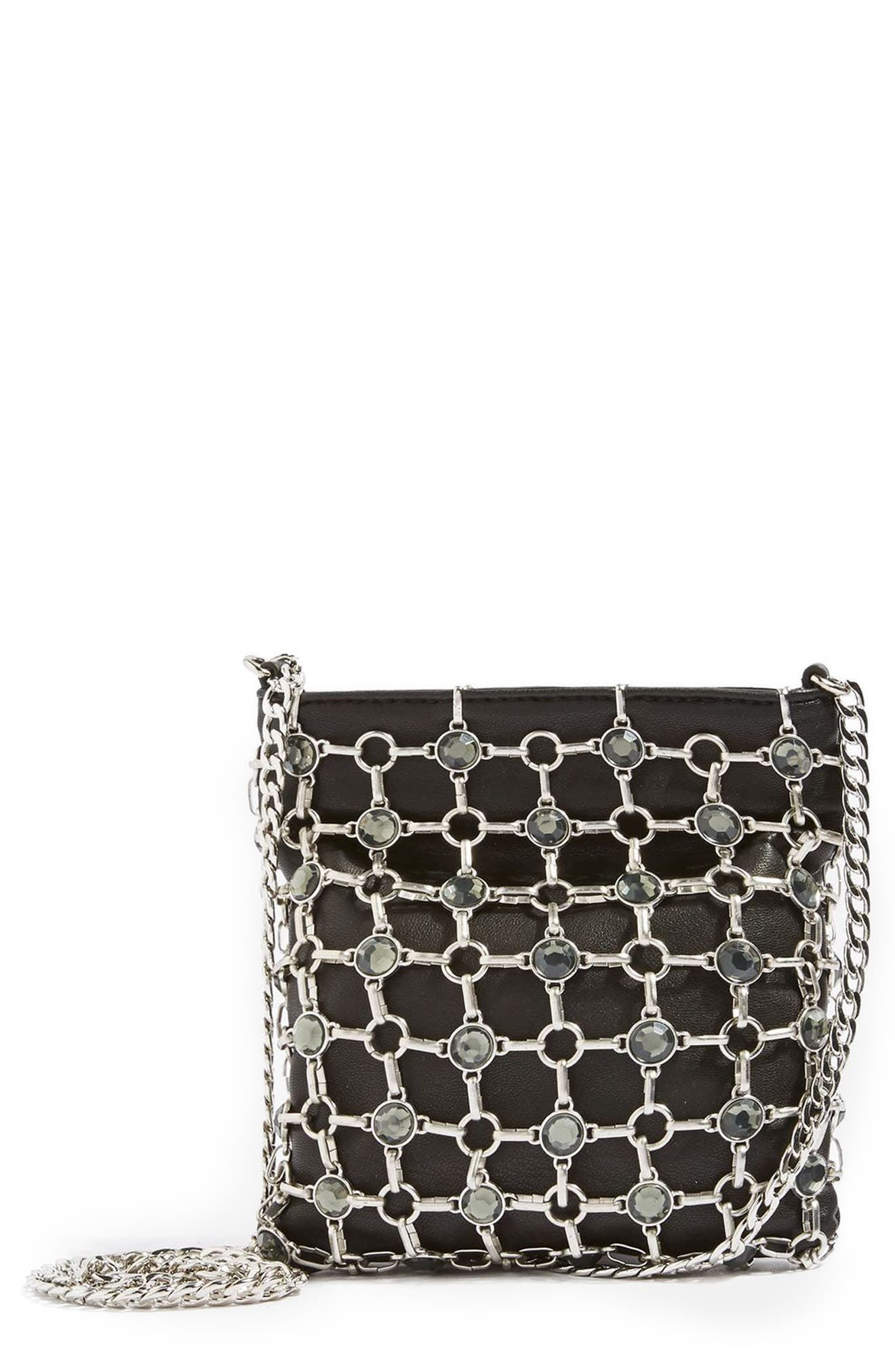 Chain Link Crossbody Bag,                         Main,                         color, Black Multi