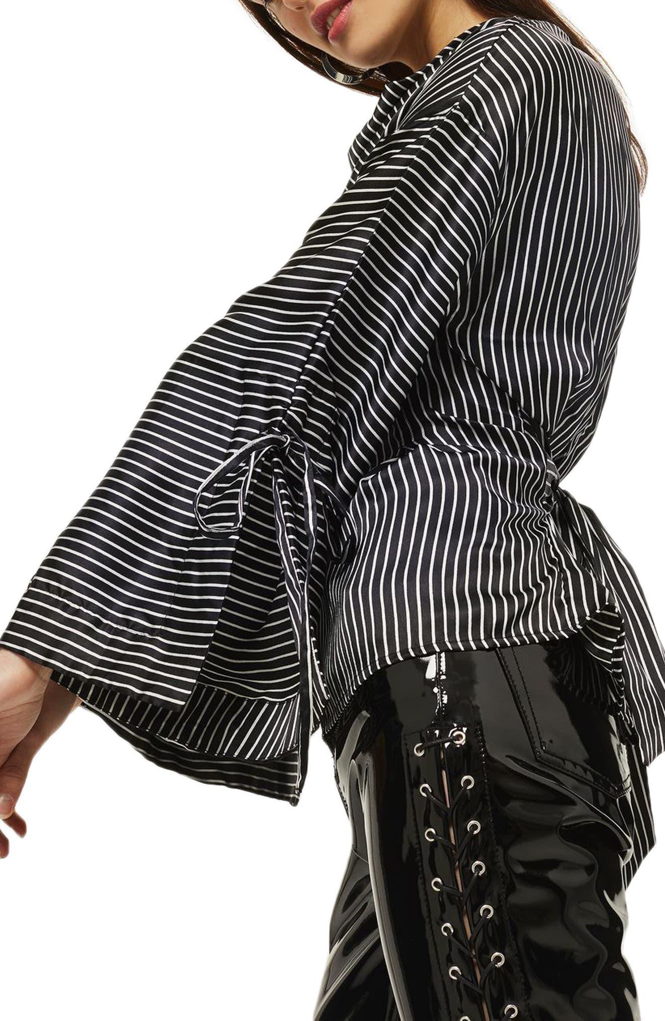 Drape Neck Twisted Stripe Blouse,                             Alternate thumbnail 3, color,                             Black Multi