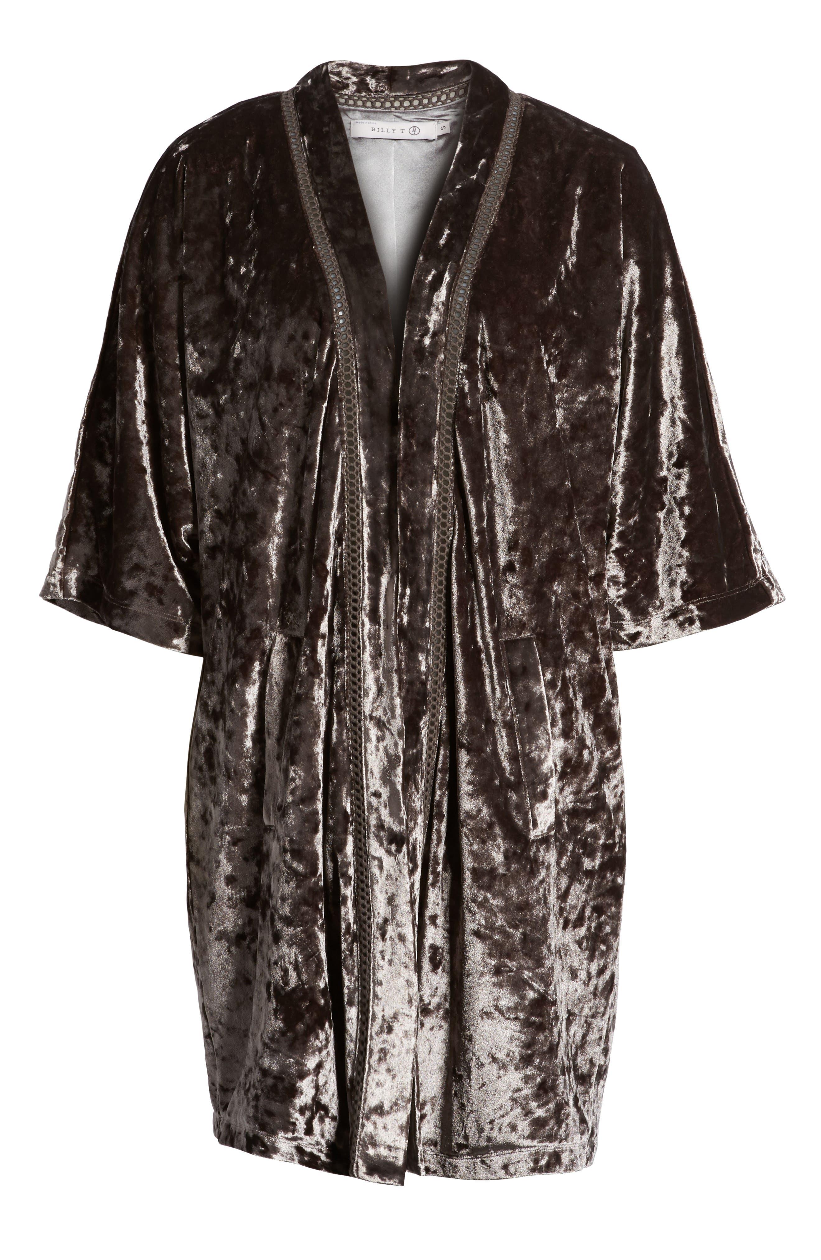 Embroidered Velvet Kimono Jacket,                         Main,                         color, Smoke