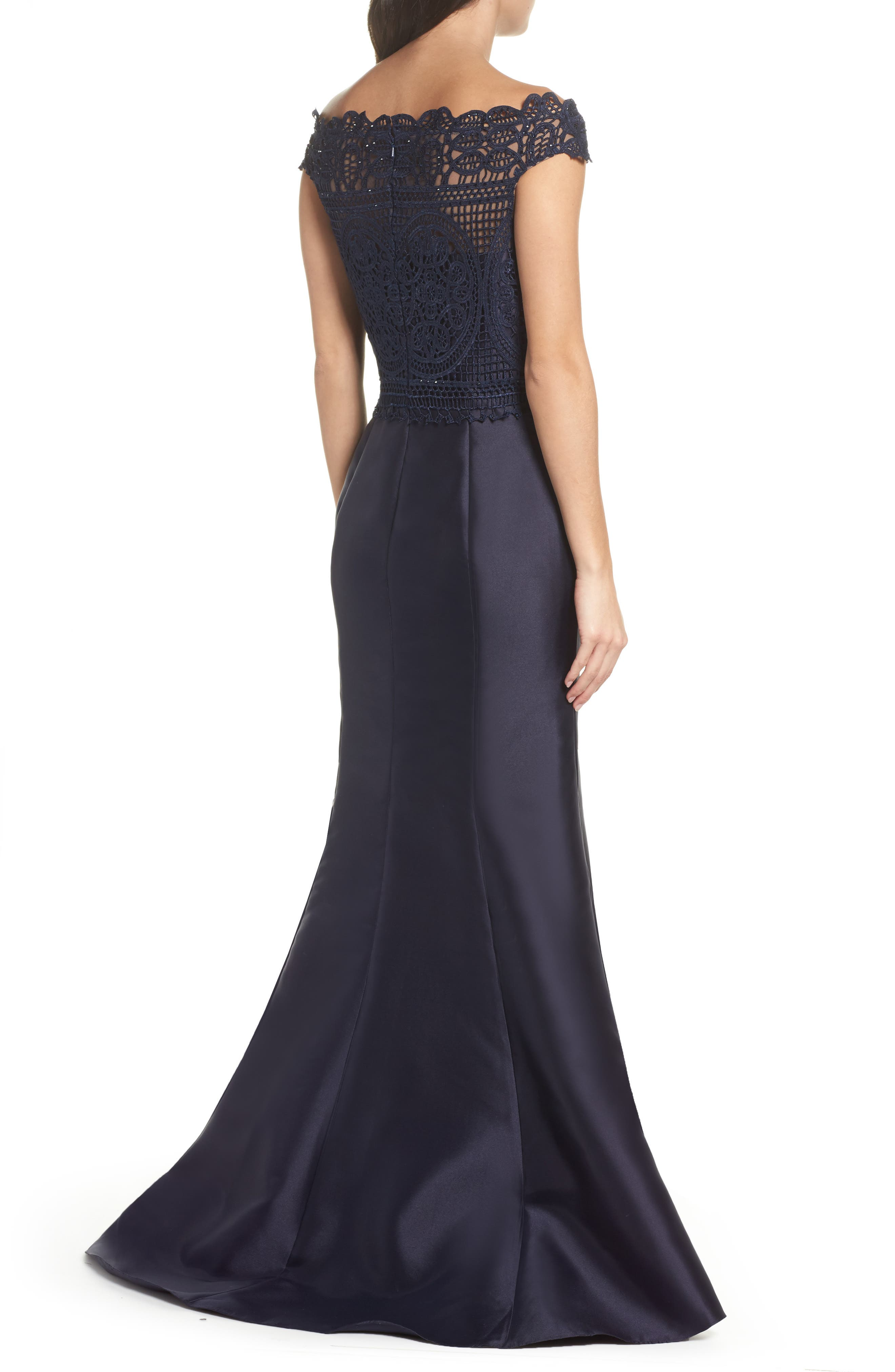 Lace & Twill Mermaid Gown,                             Alternate thumbnail 2, color,                             Navy