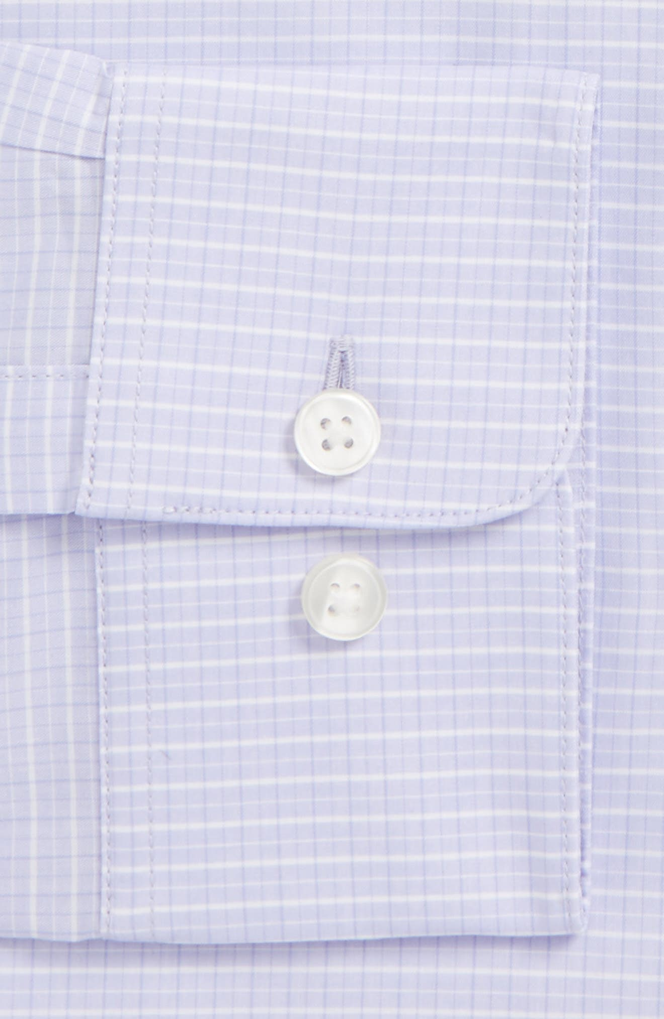 Regular Fit Stretch Check Dress Shirt,                             Alternate thumbnail 2, color,                             Thistle
