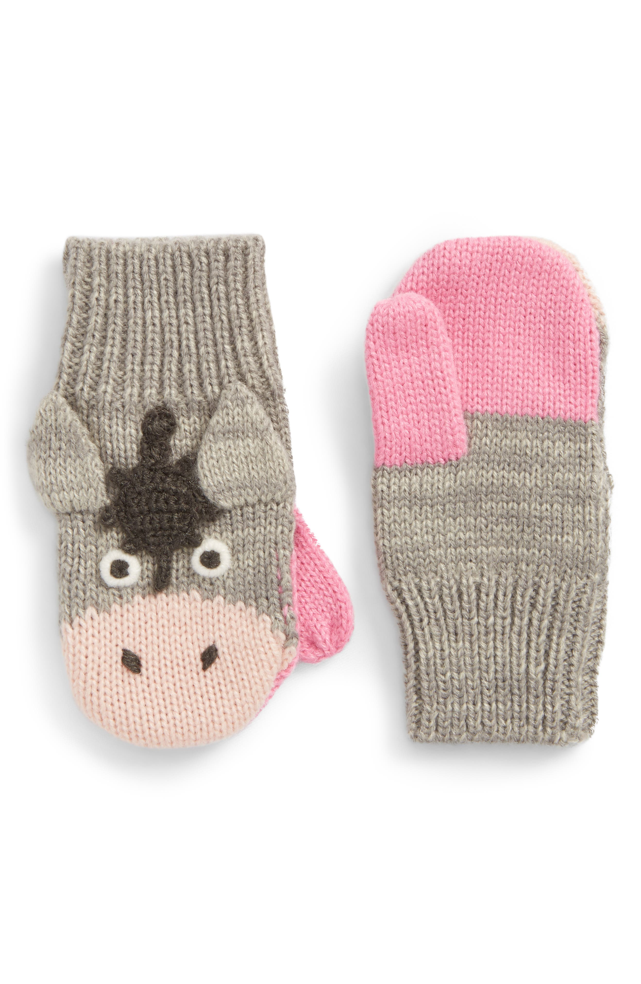 Horse Mittens,                         Main,                         color, Grey Marl