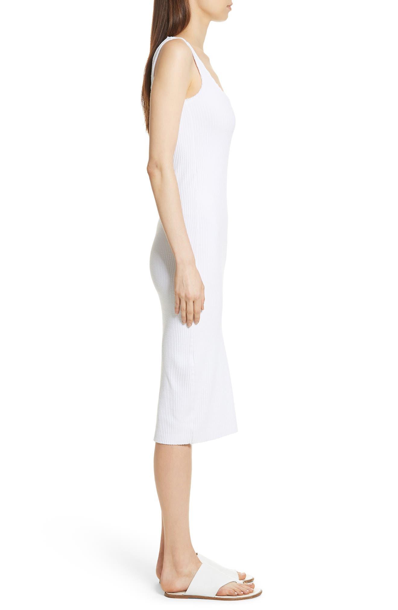 Ribbed Tank Dress,                             Alternate thumbnail 3, color,                             Optic White